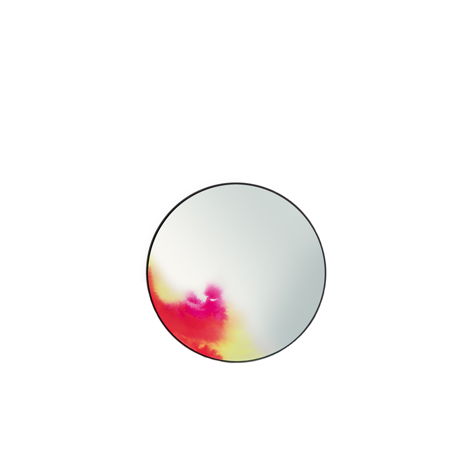 Francis Wall Mirror - Pink S - The wall mirror Francis evolved from an experience with pigmentation. The shifting colours on the periphery suggest the oxidation of antique mirrors or hues on a makeup palette. This observational design, with vivid and deep colours, is reflected inside the surface of each mirror by digital printing. The back of the mirror, slightly convex, is suspended through the centre, which allows the mirror to fall forward such as with venetian mirrors.