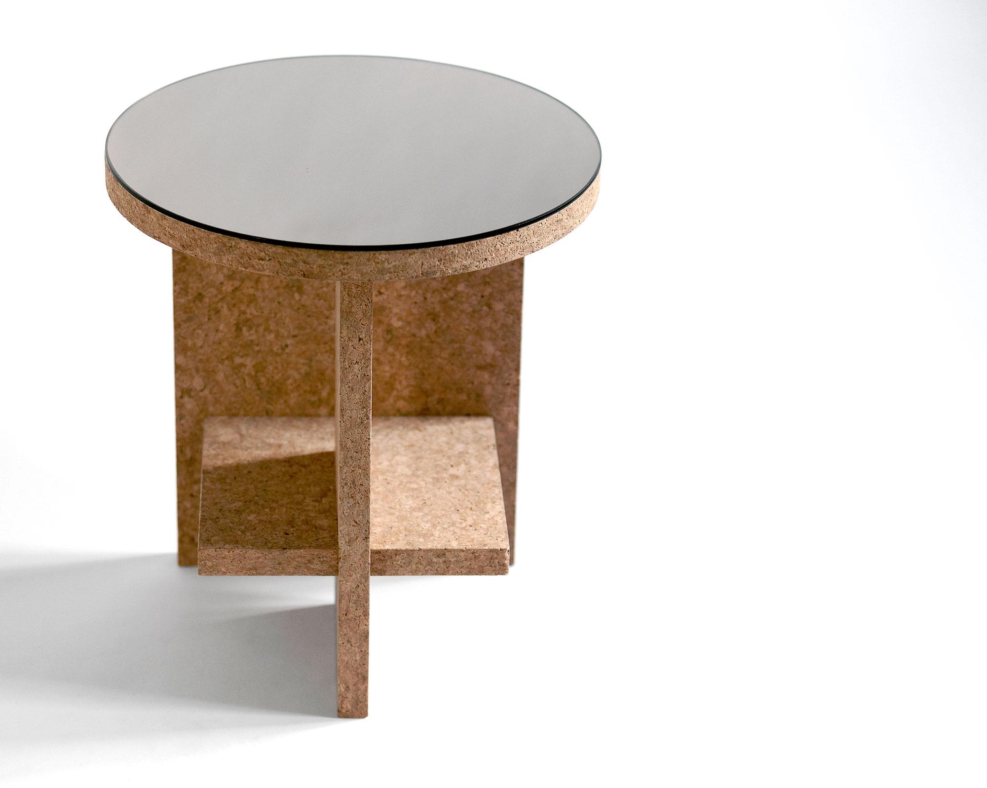Cruz del Sur Side Table Light Cork With Mirror