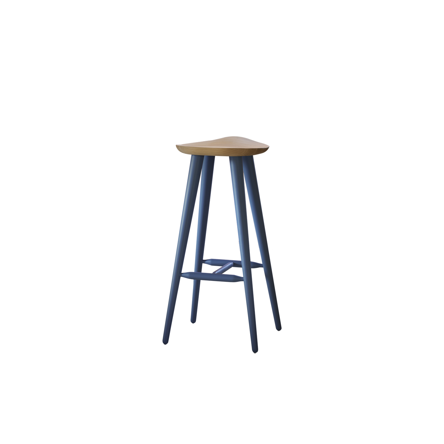"Lechuck Stool - The thin but strong coloured legs hold up a seat made of oiled beech with a comfortable shape of ""bicycle saddle"". The stool is ideally suited to any environment.