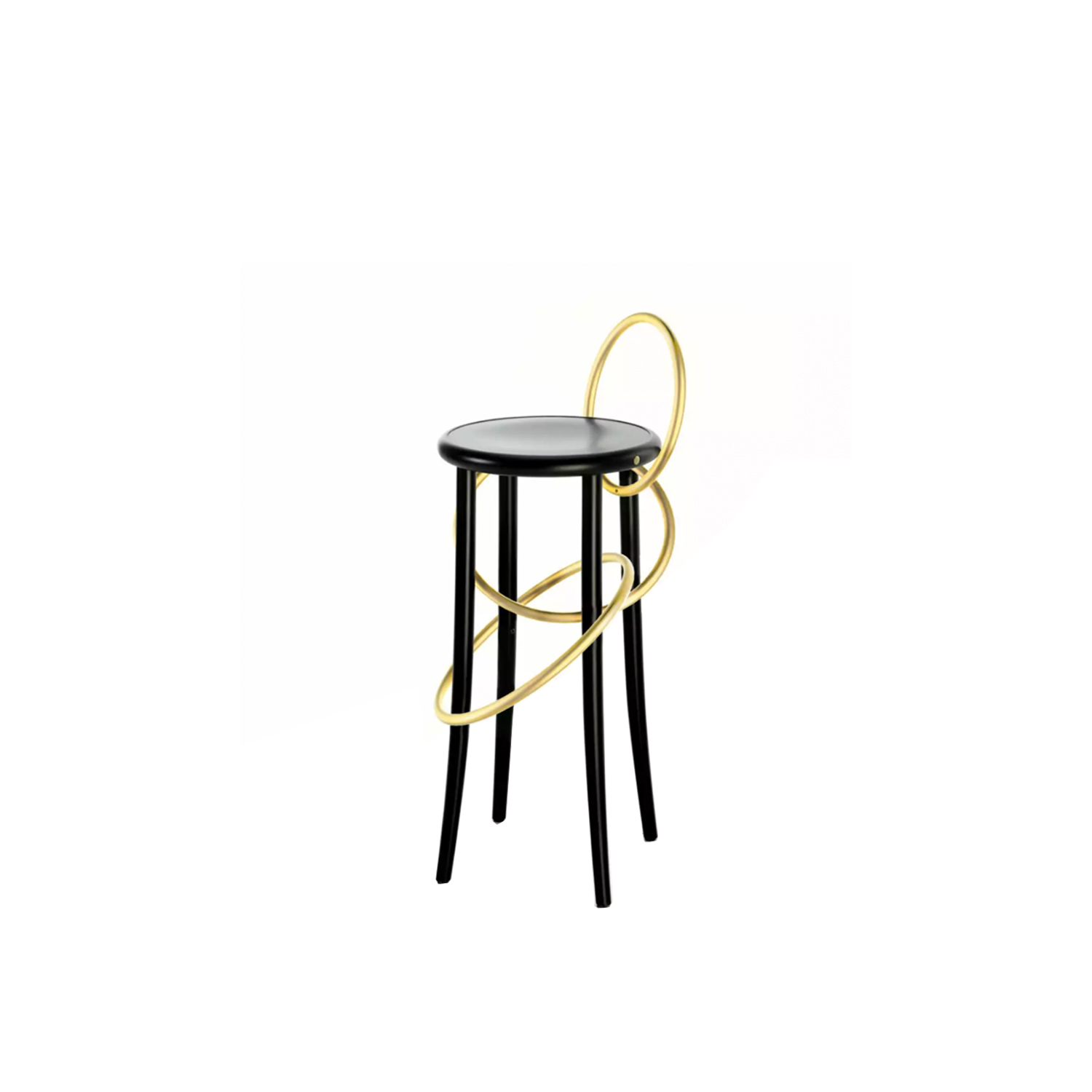 Cirque Upholstered Brass Rings Stool - The light and playful circus theme is at the core of the Cirque family of stools designed by Martino Gamper for Wiener GTV Design. The bent element, which is the brand's signature trait, is surprisingly and unexpectedly inserted in the base of the stool, forming the outline of the seat in the form of a chain comprising two or three wooden rings that loop around the full length of the stool legs. This striking styling effect blends in seamlessly with the functionality of the seat, which is available in two heights: a tall, sleek stool with or without backrest, Cirque L and Cirque M, and the stable and well-proportioned low stool, Cirque S.