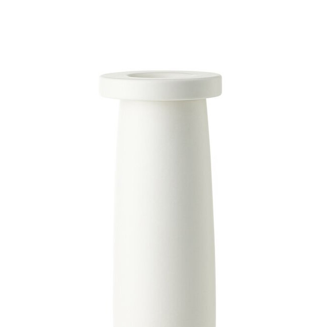 GJS Vase H - This striking vase in white clay features, This hand-glazed piece is part of a limited series of 299 vases and was designed by George J. Sowden in 2005.   Matter of Stuff