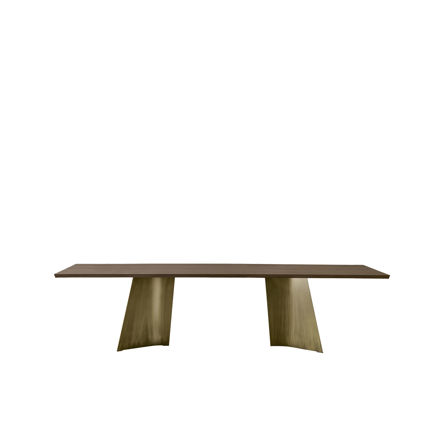 Maggese Table - Fixed table with legs in curved metal lacquered in white, silk grey, dusty grey, black, anthracite, bronzé, black iron or rusty effect. The top, fixed or extendible, is realised in Canaletto walnut, heat-treated oak, flamed oak, black ash, vintage oak, 700 oak, Fenix with wooden edges and white calacatta or black travertino ceramic. 