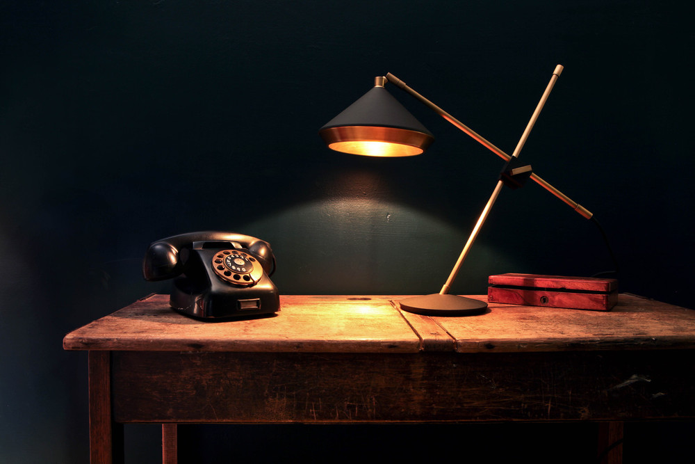 Shear Table Lamp - <p><span>This Shear Desk Lamp is a highly functional task lamp with styling inspiration taken from the 1930s. A brushed finish on the inner shade produces a softened warm light. Crafted from brass and turned steel this lamp is built to outlast its owner. An in-line switch is located on the flex. </p> <p></span></p>    Matter of Stuff