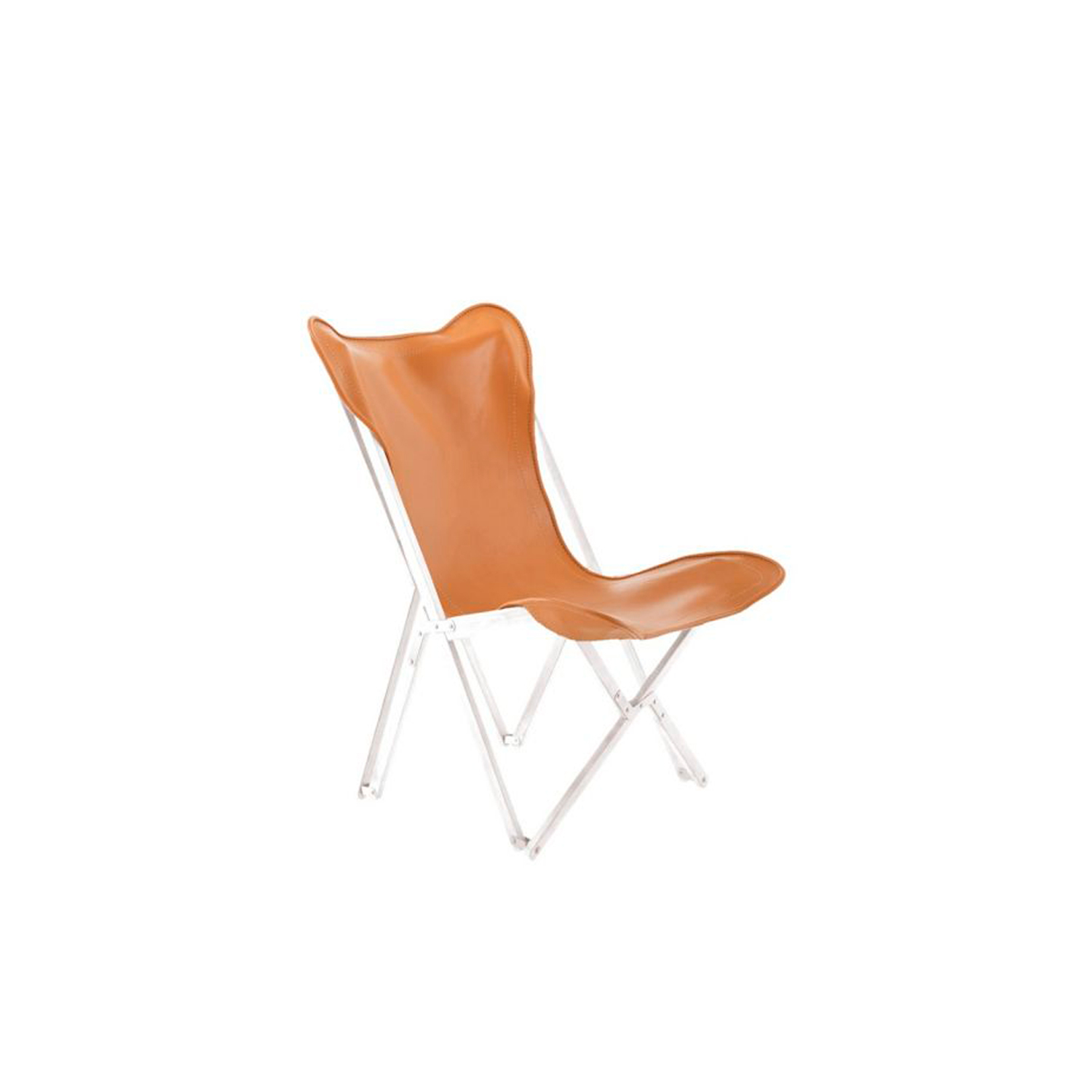 """Emy Leather Chair  - Emy chair in leather. Available in Natural Tan, Orange or Green colour.   The inspiration came from the so-called """"Tripolina"""", created in the 19th century but reproduced by Italians in Libya in the 30s for camp life in the desert. The distinctive features of the Emy small armchair are its classic style and strong personality.  Emy leather armchairs are unique, exclusive and refined products for elegant interior design furnishing.     Matter of Stuff"""