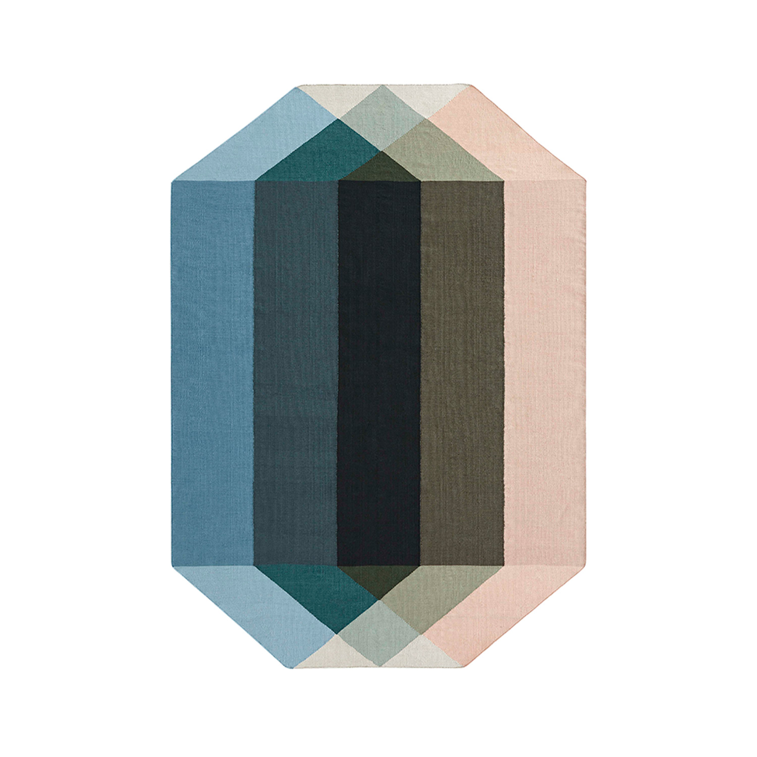 Diamond Rug - <p>Diamond is Charlotte Lancelot's new collection of outdoor kilims for GAN, made from 100% recycled PET. The designer's goal was to create a multi-faceted coloured diamond, thanks to the superposition of different translucent geometric figures. The result offers fascinating visual effects of transparency and gradients that show that beauty and sustainability, at GAN, always go hand in hand. The manufacturing technique is Kilim and due to the handmade nature of the GAN product, slight variations in size, colour, finish are normal. </p>  | Matter of Stuff
