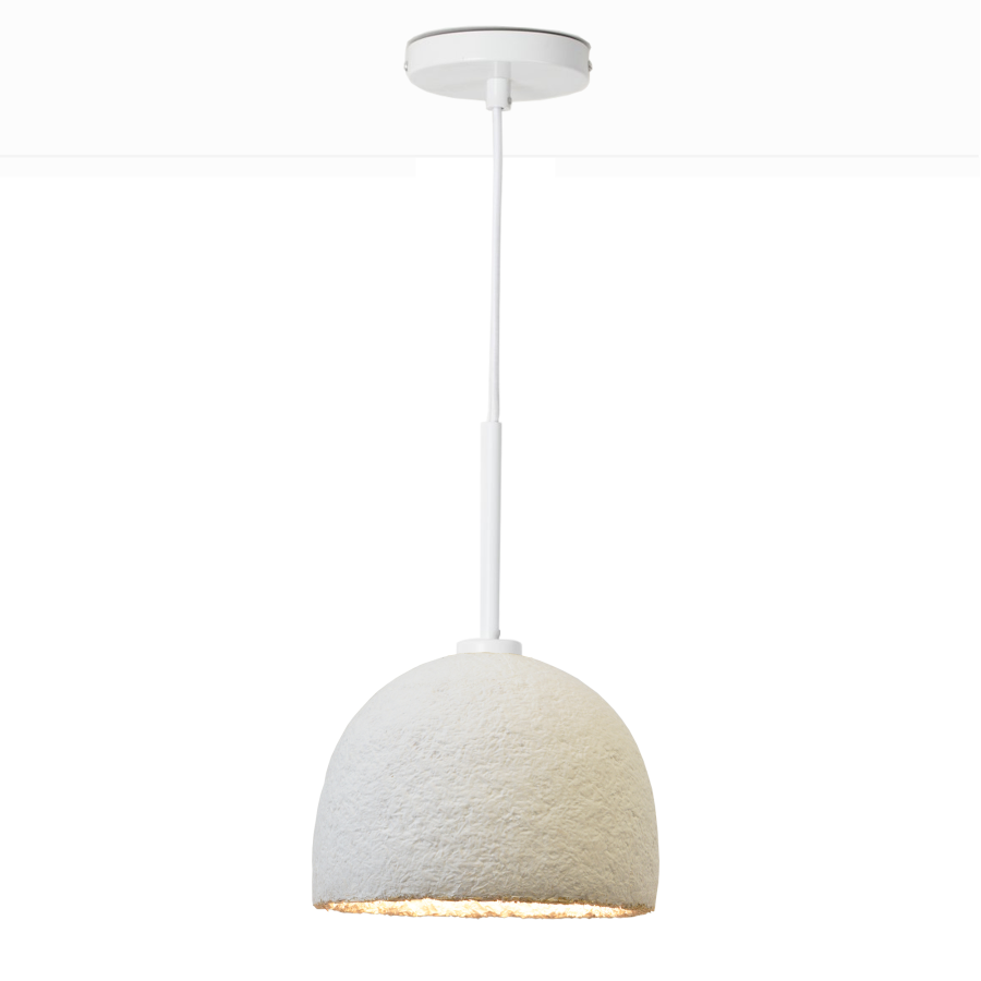 MushLume Cup Pendant Light - These beautifully designed lamps are carefully grown to give a natural boost to your interior. These lampshades are of course fully biodegradable as they are made out of agricultural waste and mycelium. Each pendant comes with a ceiling cap, a textile cable of 200cm and an E27 fitting. These necessities come in either black, white or brass and might slightly differ from the photo.   This fitting only supports the usage of a LED lamp bulb (not supplied in the package). Grown Bio will start growing your light shade as soon as we have received your order. | Matter of Stuff