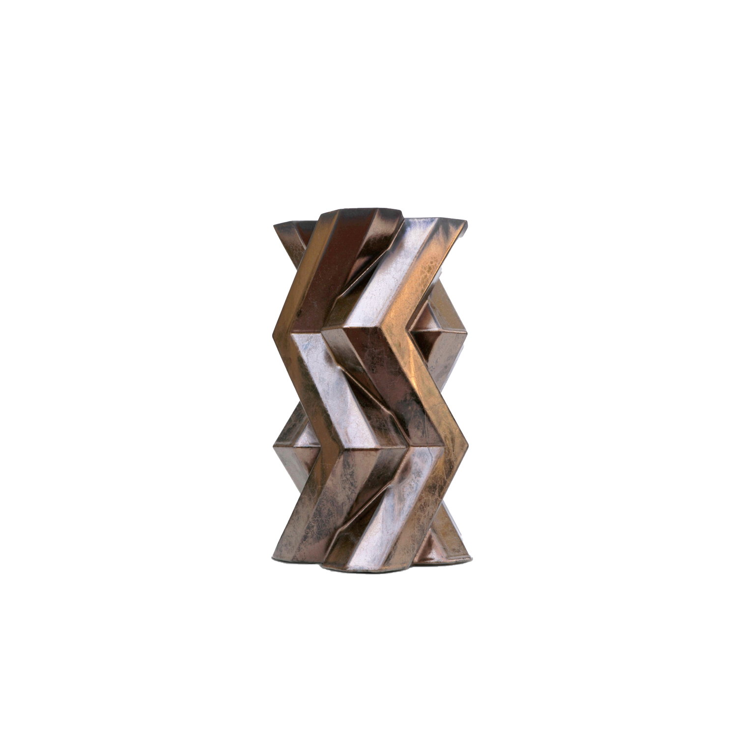 Fortress Tower Vase Bronze - Designer Lara Bohinc explores the marriage of ancient and futuristic form in the new Fortress Vase range, which has created a more complex geometric and modern structure from the original inspiration of the octagonal towers at the Diocletian Palace in Croatia. The resulting hexagonal blocks interlock and embrace to allow the play of light and shade on the many surfaces and angles. There are four Fortress shapes: the larger Column and Castle (45cm height), the Pillar (30cm height) and the Tower vase (37cm height). These are hand made from ceramic in a small Italian artisanal workshop and come in three finishes: dark gold, bronze and speckled white.  | Matter of Stuff