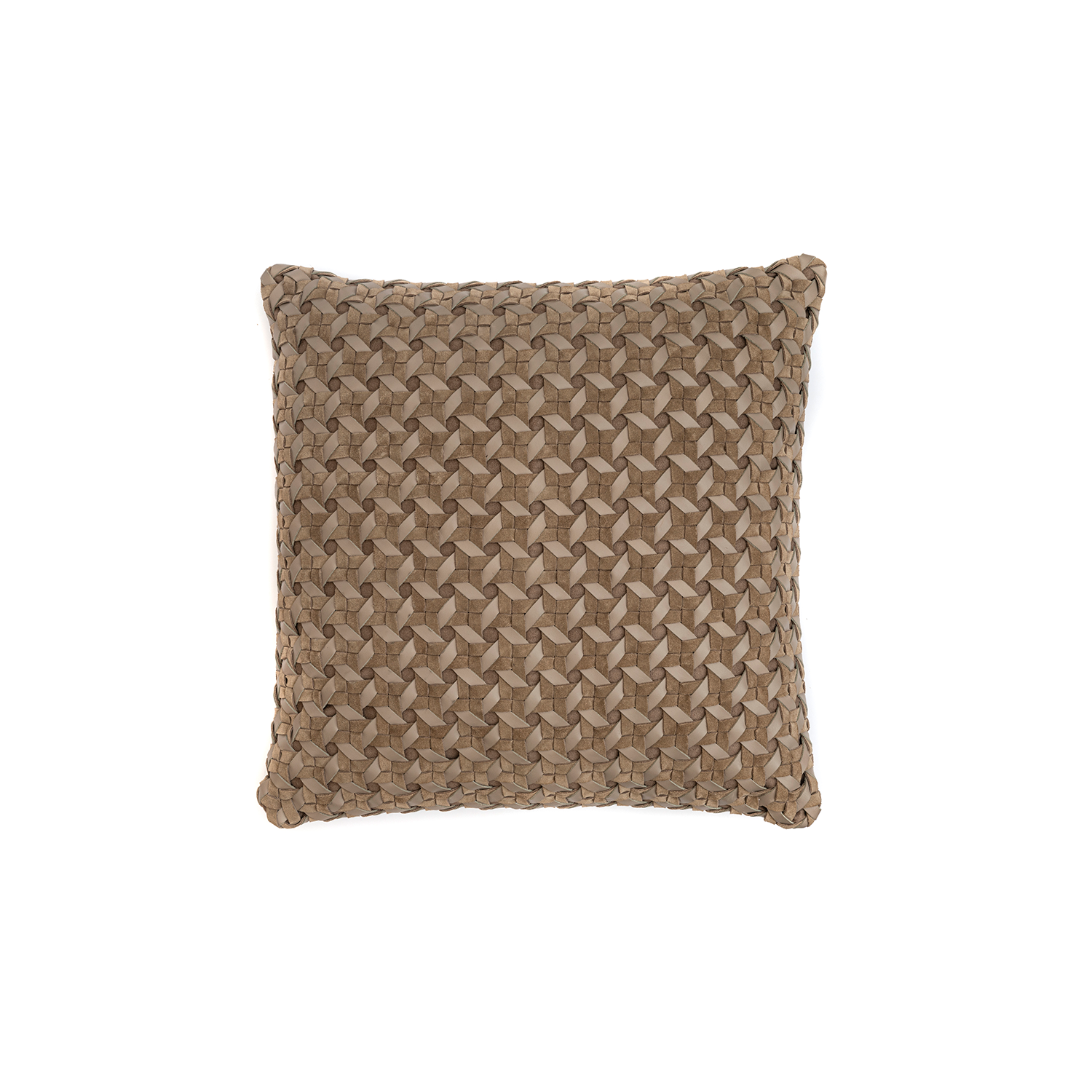 Maxi Catavento Woven Leather Cushion Square - The Maxi Catavento Woven Leather Cushion is designed to complement an ambient with a natural and sophisticated feeling. This cushion style is available in pleated leather or pleated suede leather. Elisa Atheniense woven handmade leather cushions are specially manufactured in Brazil using an exclusive treated leather that brings the soft feel touch to every single piece.   The front panel is handwoven in leather and the back panel is 100% Pes, made in Brazil.  The inner cushion is available in Hollow Fibre and European Duck Feathers, made in the UK.  Please enquire for more information and see colour chart for reference.   | Matter of Stuff