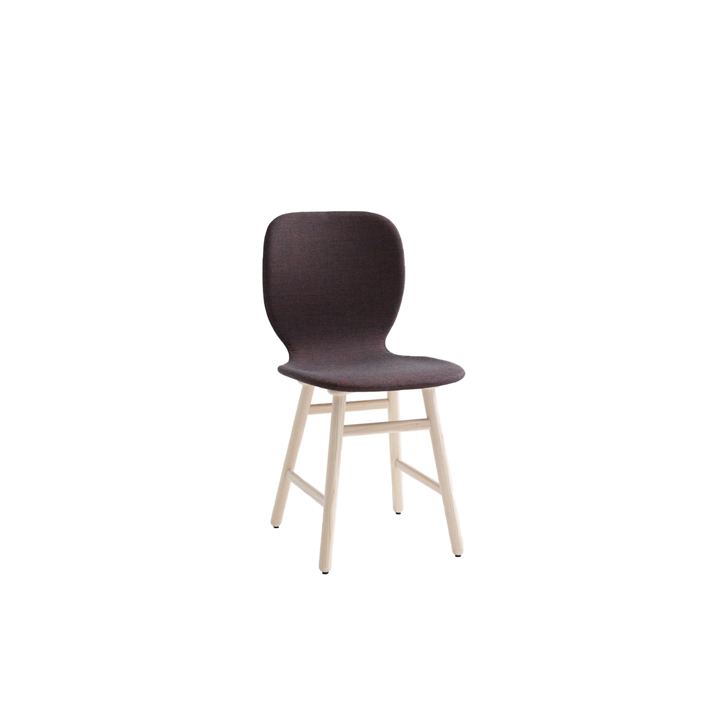 Shell Upholstered Chair - The underlying thinking behind the design has been to find the right balance between the distinctive lines of the stool and a chair that projects its own unique identity. The aim has been to retain the subtle curves of the seat shell and the construction of the frame with its slightly angled legs. The chair provides a comfortable seating angle and an ideal degree of flexibility that follows the contours of the body and responds to its movements.  Depending on how you choose to combine seat shell, textiles and surface finish, you can change the personality of Shell to blend seamlessly into its surroundings. Such versatility means that Shell can be used in virtually any setting you wish. The chair makes a handsome match with many of Karl Andersson & Söner's tables and, thanks to its comfort and sleek lines, Shell is an ideal choice of chair in canteens, lunchrooms, restaurants and cafés. The chair is manufactured in oak, birch, ash, standard colours, standard stains on ash and white glazed oak or ash. Choose an all-wood chair or versions with a covered seat, or fully upholstered in fabric or leather. Cold-cured foam padding. Please enquire for details of other finish. | Matter of Stuff