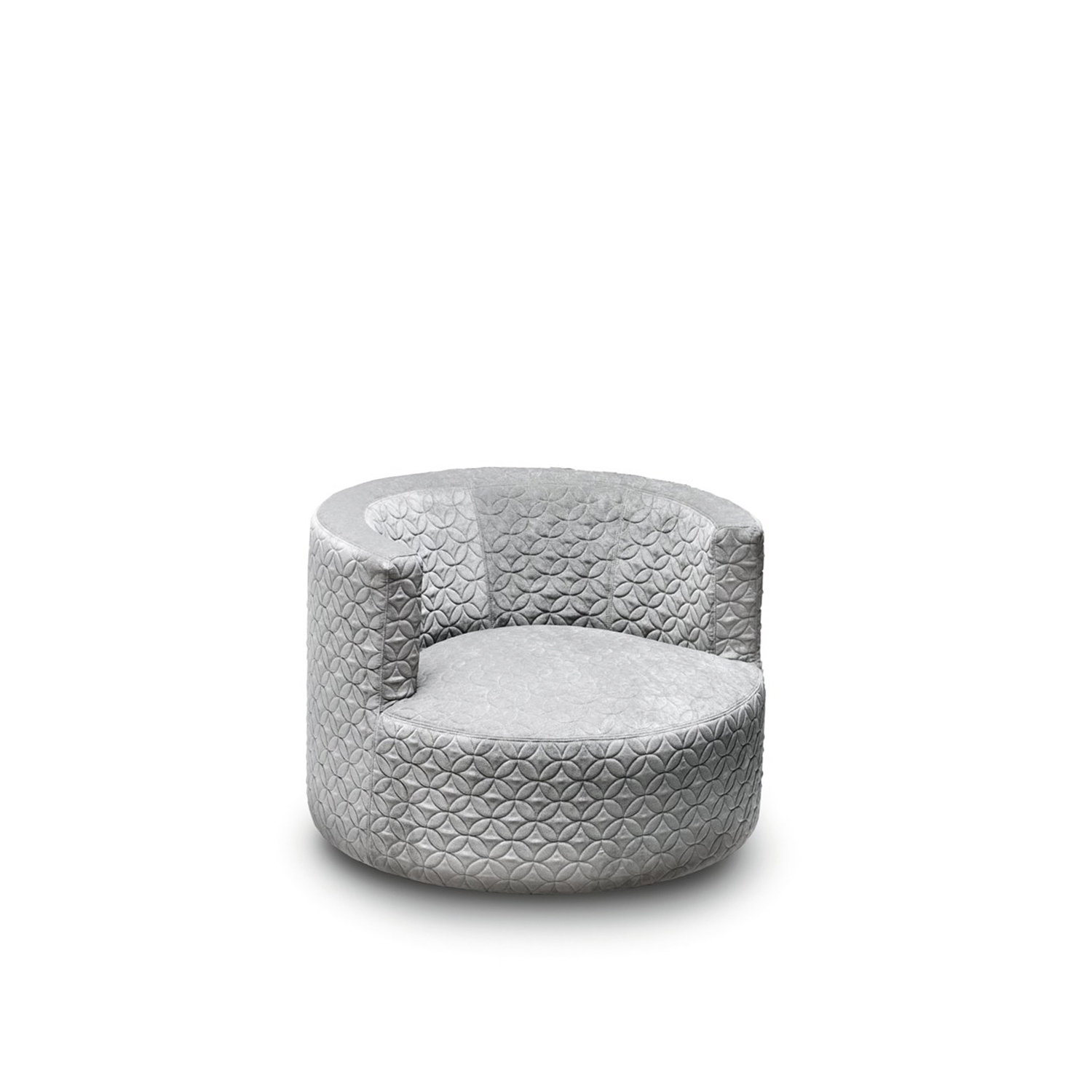 Chance Armchair - Chance is a compact swiveling tub chair, equally functional and decorative in both domestic and contract settings. The perfectly round timeless shape can reveal many different souls depending on the chosen textile. Fully removable covers.  Materials: Wooden frame with polyurethane foam with variable density and covered with velfodera bonded resin pressed. Swivel base in wire drawn and glossy chrome finish h. 4 cm. | Matter of Stuff
