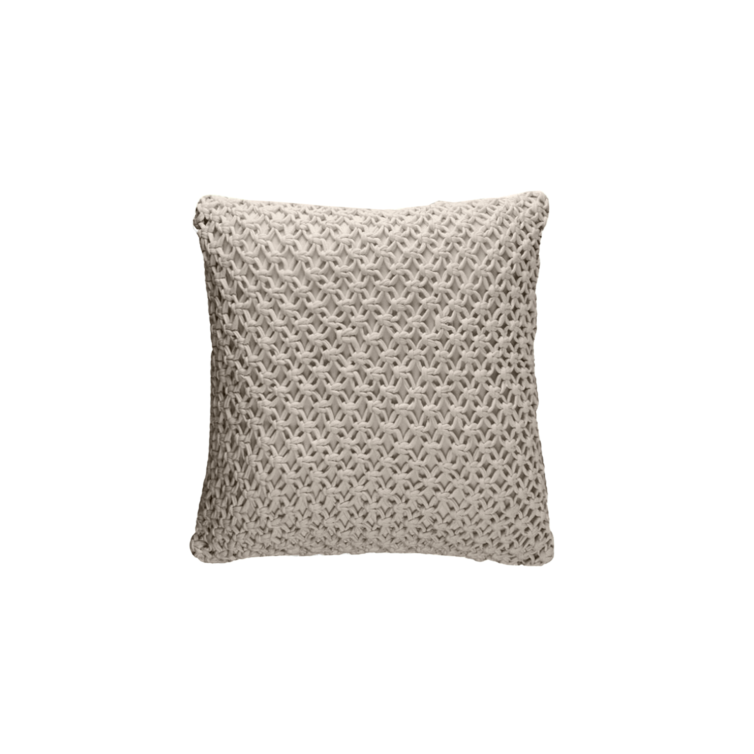 Macrame Knitted Cotton Cushion Square - The Macrame Line is carefully knitted within a trained community of women that found in their craft a way to provide for their families, each one of these cushions and throws is unique.  Elisa Atheniense Home soft indoors collection is made with natural cotton fibres, eco-friendly, handwoven or elaborated using traditional hand-loom techniques. The use of organic materials brings softness and comfort to the space. This collection combines their mission for responsible sourcing and manufacturing.  The hand woven cotton, washable cushion cover is made in Brazil and the inner cushion is made in the UK. All cushions come with Hollow Fibre filling. European Duck Feathers are optional upon request at an extra cost. Please enquire for more information and see colour chart for reference.    | Matter of Stuff
