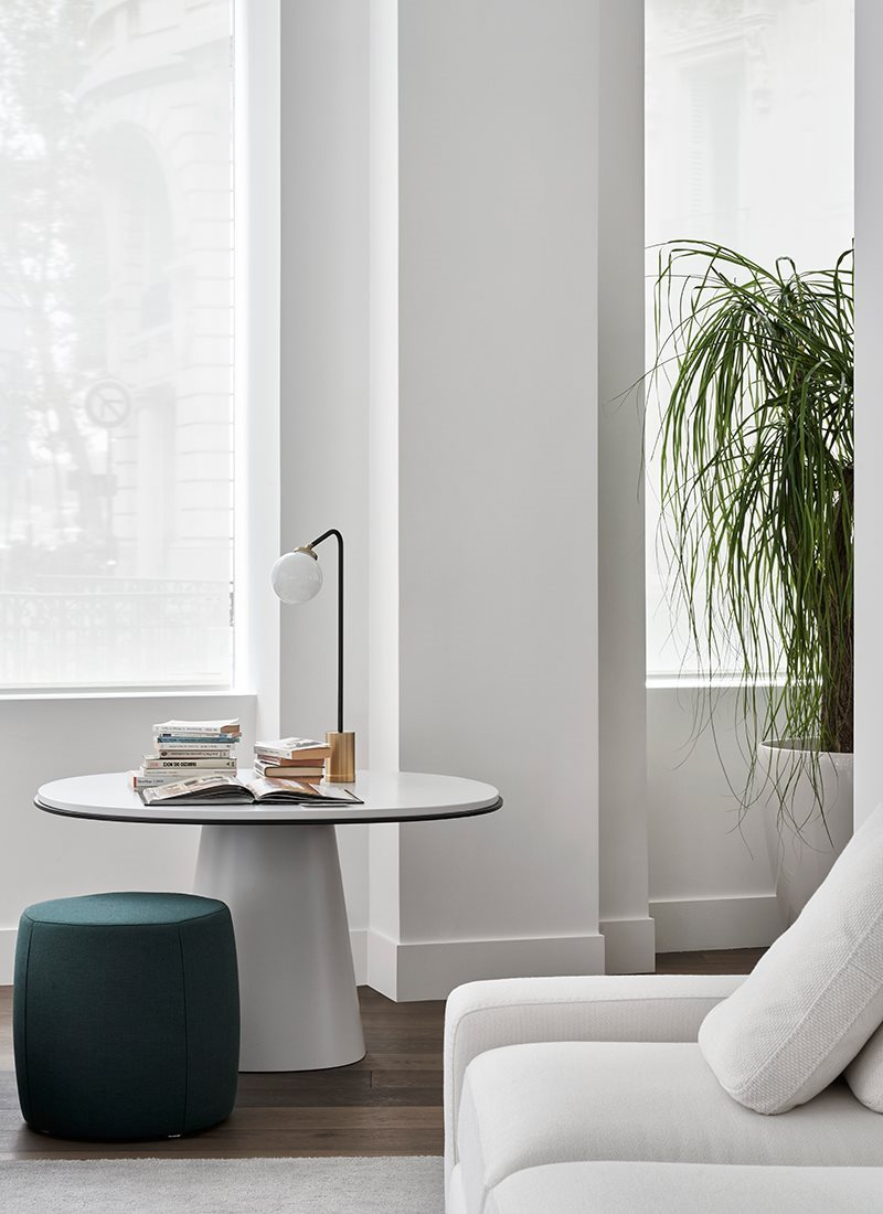 """Owen Lounge Table - A pedestal dining table, available in """"lounge"""" heights, that suggests a new way of dining. Marbles, lacquers, woods and bronzed brass offer multiple interpretations. 