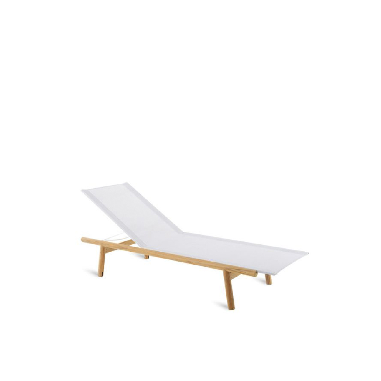Pevero Sun Lounger - The new really complete Pevero line exalts all the potential of teak, thanks to its clean essential design that highlights the round section of the wood.  Sofas, armchairs, tables both low and tall of various sizes, three different models of the chair and small armchair that are all well suited to other collections, as well as a sun lounger and a large round island, all characterized by teak worked in soft, rounded, graceful lines that are easy on the eye and guarantee maximum comfort, while tastefully furnishing any outdoor area.  Sunlounger (W 204 D 66 H 85 seat H 35) Structure in teak with cover in techno fabric in white | Matter of Stuff