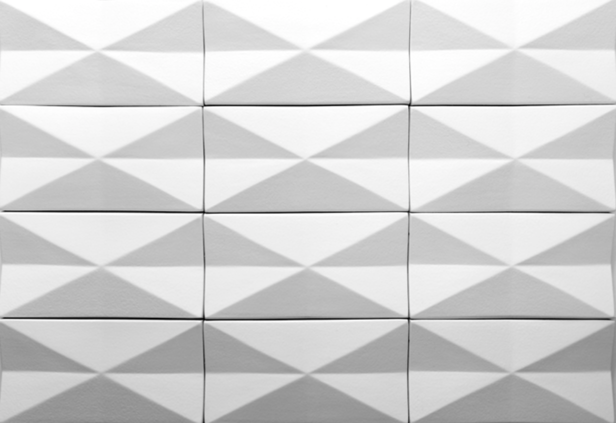 Inverted Diamond  - These ceramic tiles are sized 10x20cm and perfect to decorate exterior facades and interior walls, adding a geometric sense of movement and creating 3D surfaces profiles that playing with shadow and light.
