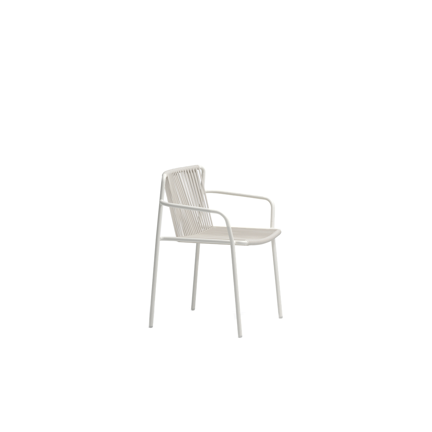 Tribeca Armchair - Tribeca takes us back in time with a modern reinterpretation of classic Sixties patio chairs made from steel and woven material. Armchair with Ø2cm tube structure powder coated for outdoor use, backrest and seat in woven extruded PVC with a nylon core. Specifically designed for outdoor use. Stackable. | Matter of Stuff