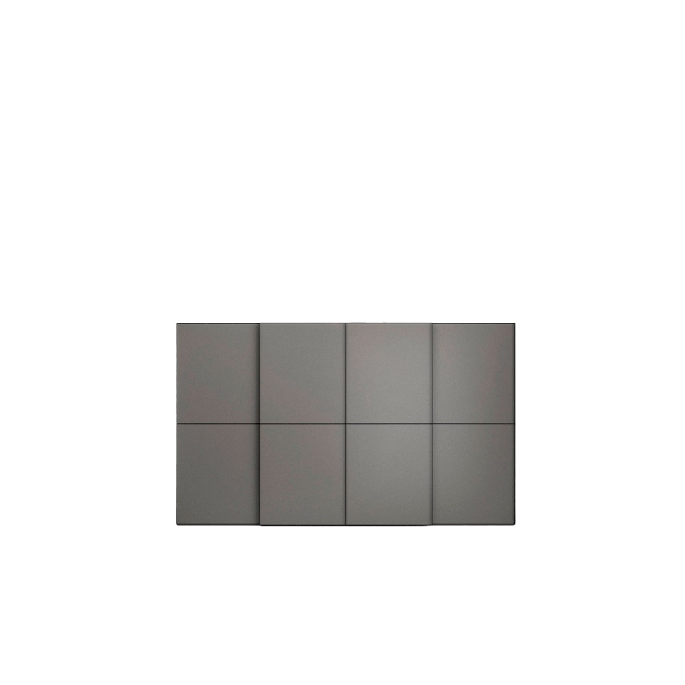 Dover Sliding Door Wardrobe - The doors on the Dover wardrobe can be given a distinctive look with one or more horizontal profiles available in the bronze and brushed steel finishes and matt lacquered colours, either tone-on-tone to match the door or in a contrasting colour for bolder solutions. The vertical profile integrated in the door frame also acts as a handle.   Matter of Stuff
