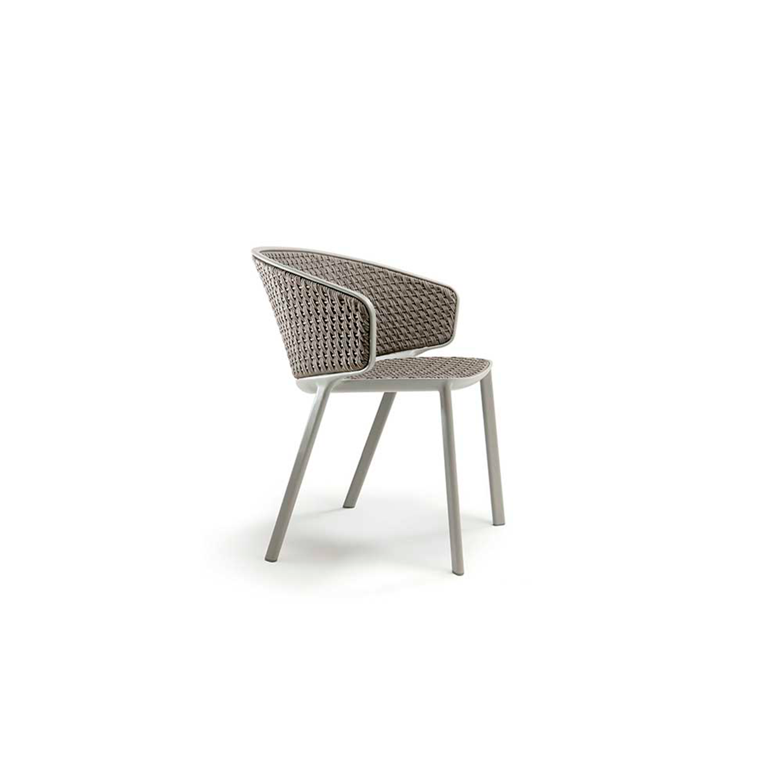 Pluvia Rope Dining Armchair - Conceived and designed for outdoors, its harmonious lines, refined design and attention to details mean that Pluvia is also perfect for indoors and will become the ideal armchair to enhance the living area. Elegance and simplicity, together with design thinking that unites aesthetics and versatility, make Pluvia an armchair that 'interprets' the mood of its settings, and enhancing addition to any kind of open-air living space and a surprising one for interiors.  The rain cover is available at extra cost. Please enquire for more information.   Matter of Stuff