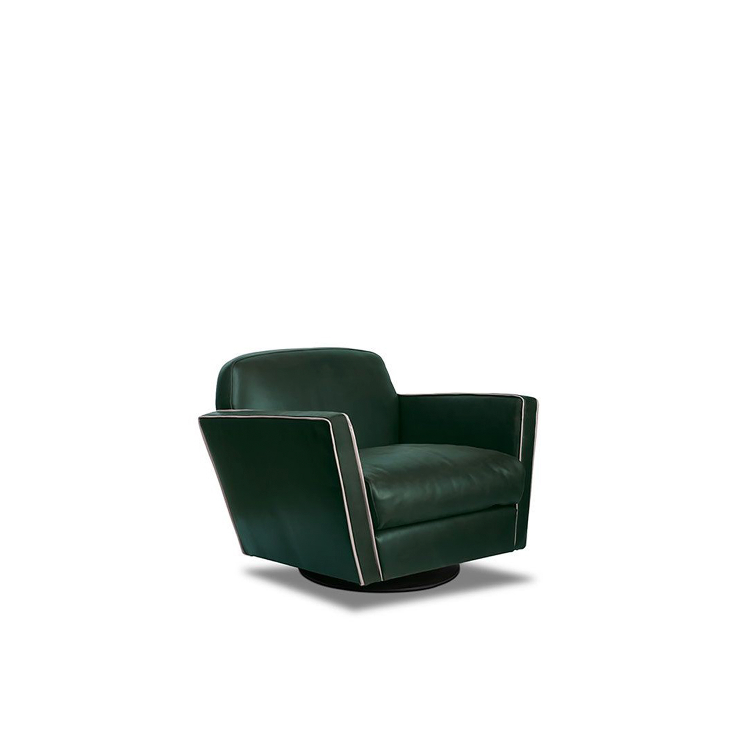 Capri Armchair - Structure in phenolic plywood and fir essence. Base with feet in semi-gloss black-stained beech or revolving base. Padding in differentiated density polyurethane foam, with acrylic fibre covering. Decorative piping in the same shade of leather. There is an armchair and revolving armchair avaliable.  Upon request, it is possible for the decorative profile to be in the other shades of leather shown in the catalogue. Each product is hand-made in Italy and upholstery can be customised upon request. For more information on leathers and materials please refer to the catalogue.   | Matter of Stuff