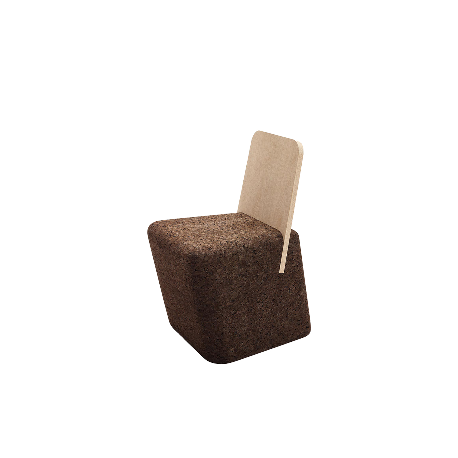 """Cut Chair - It is only used cork of the branches (falca) for the manufacture of cork granules. These are block clusters in autoclave, being 100% natural process, without use of additives. Technology, developed by Sofalca, consists of injecting water vapour through the pallets that will expand and agglutinate with the resins of the cork itself. This """"cooking"""" gives also dark colour to the agglomerated cork, like chocolate. In the production of steam I used biomass, obtained on milling and cleaning the falca, what makes it truly ecological production and without waste, 95% energy self-sufficient. As a super-material, cork offers so many advantages, because in addition to its excellent thermic, acoustic insulation and anti vibration characteristic, it is also a CO2 sink playing a key-role in the environment. 