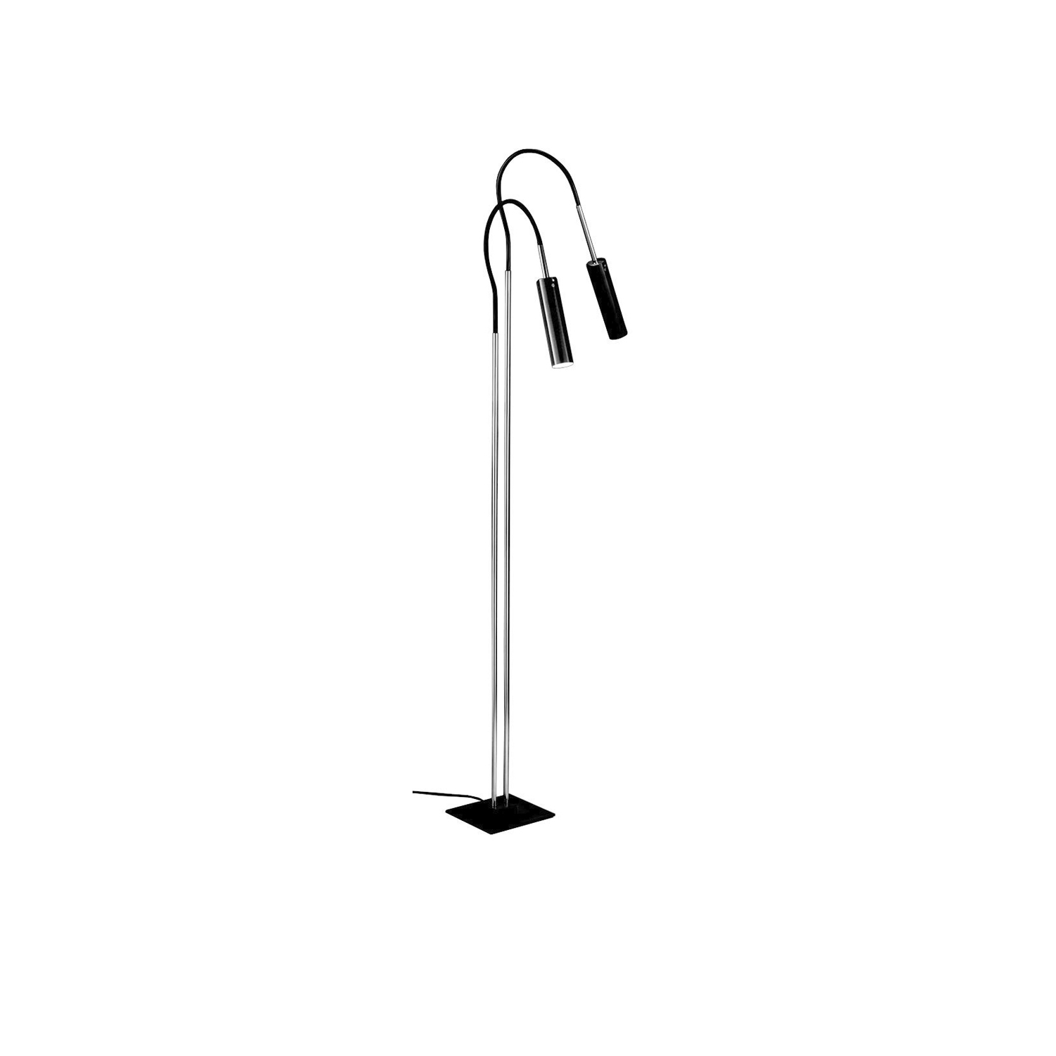 Lucenera 208 Floor Lamp - Lucenera was developed from a simple concept: taking the limelight off the lamp and giving centre stage to the light, depending on the subject illuminated. To achieve this, Enzo Catellani used a black carbon tube and flexible support. The shape is the simplest one possible; the object is the utmost in versatility. | Matter of Stuff