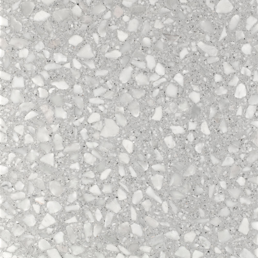 Silver - Terrazzo graniglia tiles made through sustainable processes and recyclable. This graniglia is indeed composed of natural recycled raw materials, 80% of which originates from the processing of precious Italian marble.