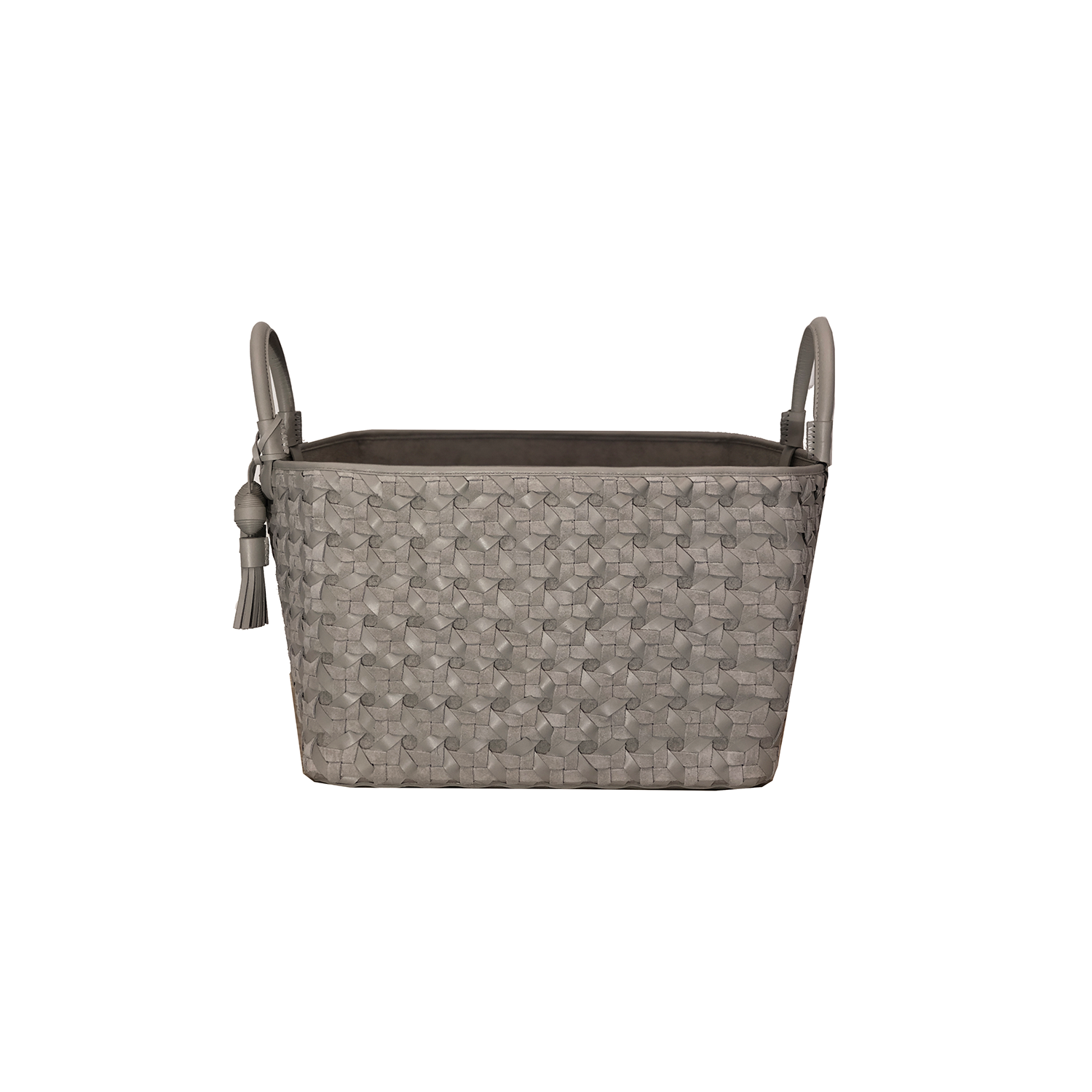 Trancoso Maxi Catavento Geometrico Woven Leather Basket - Trancoso Maxi Catavento Geometrico Woven Leather Basket is designed to complement an ambient with natural and sophisticated feeling, ideal when placed next your sofa or bed, perfect for magazines and throws storage. Elisa Atheniense woven leather pieces, are handmade and manufactured in Brazil using an exclusive treated leather that brings the soft feel and touch to every single piece. Elisa Atheniense Home Baskets have a delicate tassel attached.   The basket is available in two sizes. Bespoke sizes are also available under project request as well as colours, see colour chart for reference. | Matter of Stuff