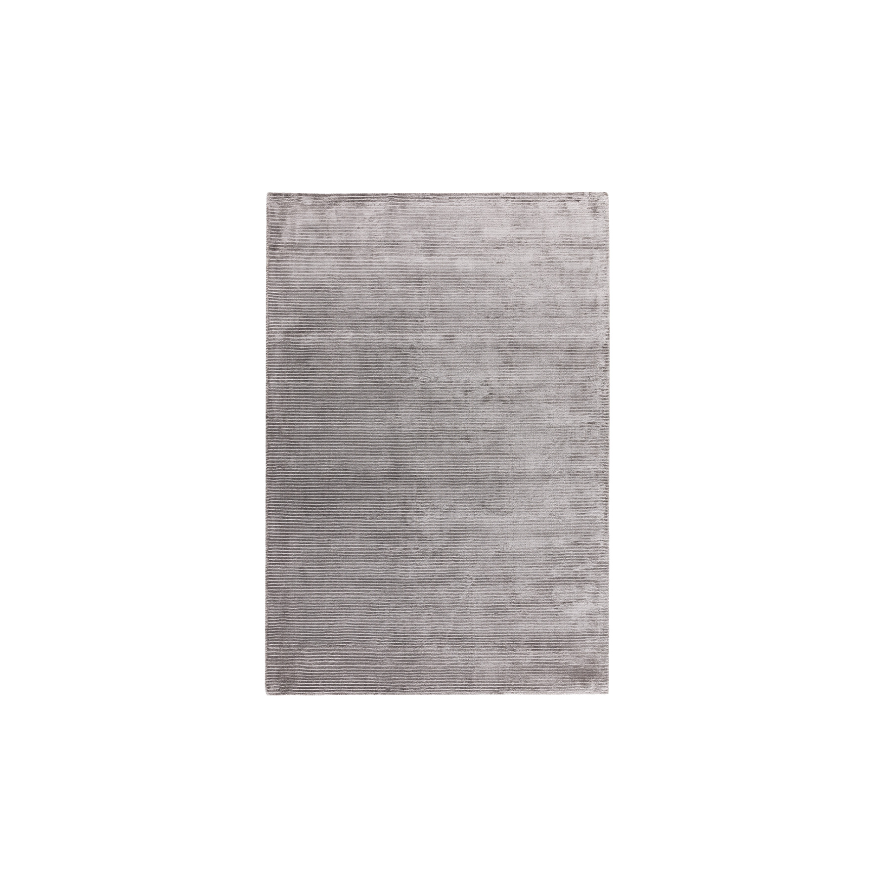 Bellagio Silver Rug - The Contemporary Plains Collection of plain rugs feature a largely neutral and natural palette of greys and creams with modern fashionable contrast tones added throughout. The use of clean lines and complementary borders adds visual interest whilst maintaining the contemporary ethos. The Bellagio rugs are Hand-woven viscose with loop stripe detail. Available in different sizes.  | Matter of Stuff