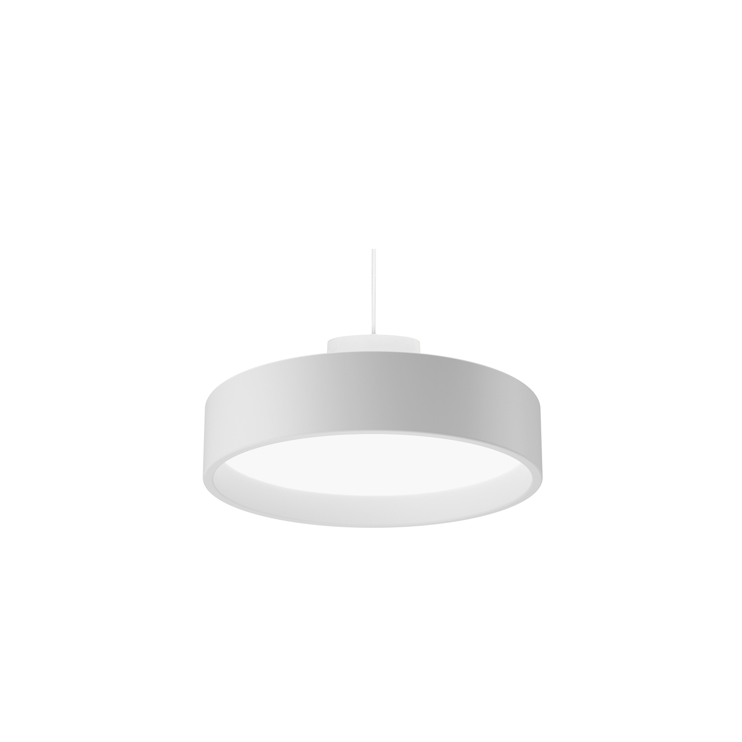 LP Circle Pendant Light - The fixture emits diffuse light via a high-efficiency acrylic diffuser. The diffuser, which is encircled by a voluminous coloured or white ring, is hidden when viewed from low angles. Angling the inner side of the ring 5° creates a comfortable and decorative graduation of the light from the diffuser. Perforated body discreetly illuminates the other components of the fixture. | Matter of Stuff