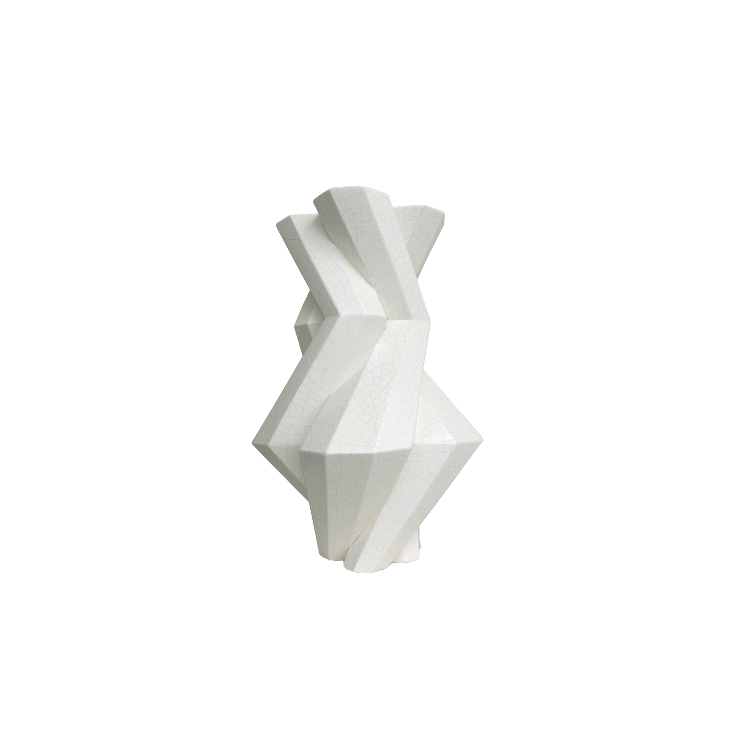 Fortress Castle Vase Crackled White - Designer Lara Bohinc explores the marriage of ancient and futuristic form in the new Fortress Vase range, which has created a more complex geometric and modern structure from the original inspiration of the octagonal towers at the Diocletian Palace in Croatia. The resulting hexagonal blocks interlock and embrace to allow the play of light and shade on the many surfaces and angles. There are four Fortress shapes: the larger Column and Castle (45cm height), the Pillar (30cm height) and the Tower vase (37cm height). These are hand made from ceramic in a small Italian artisanal workshop and come in three finishes: dark gold, bronze and speckled white.  | Matter of Stuff