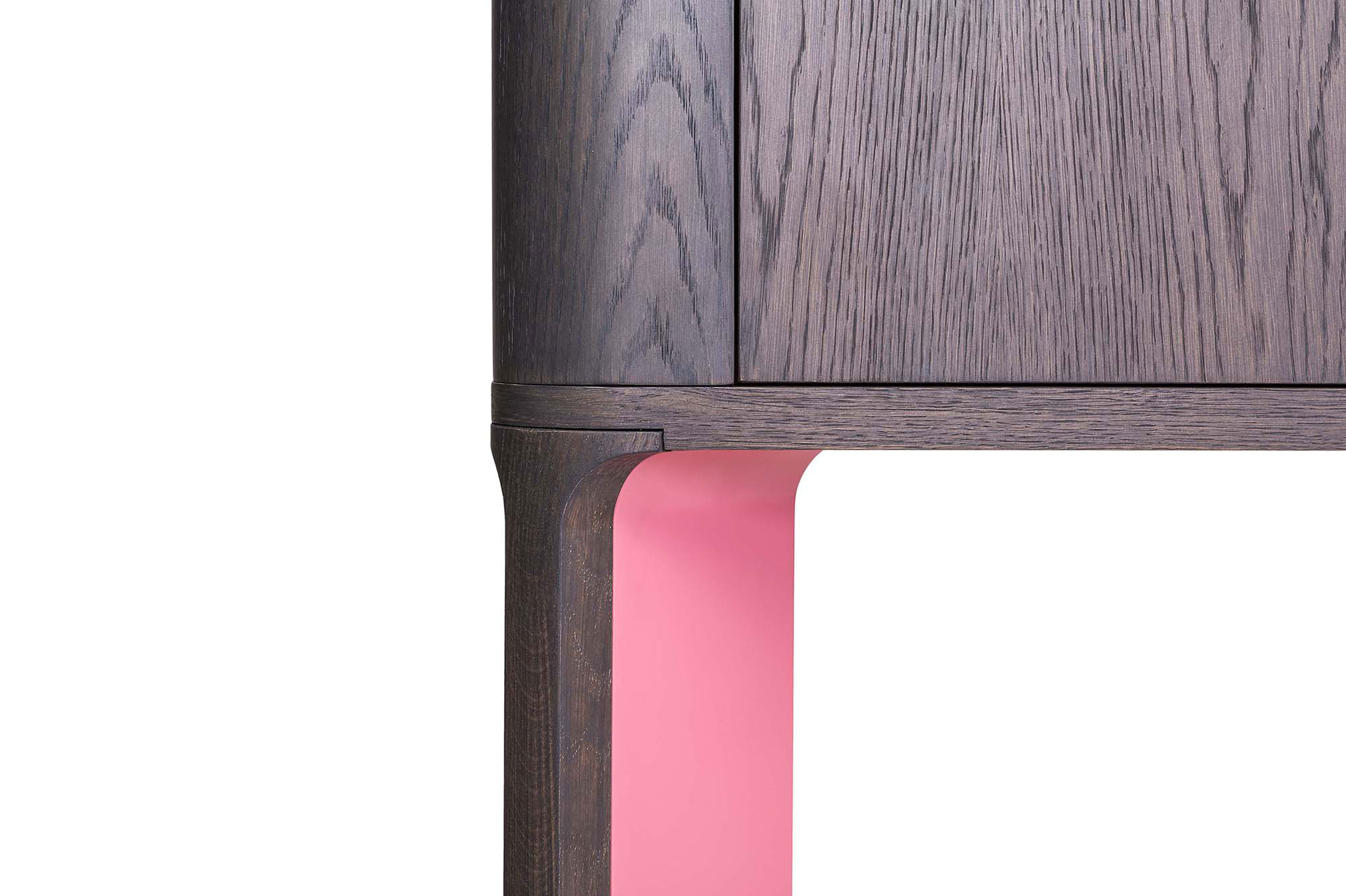 Acro-Bat 004A Cabinet - High board in various sizes with round corners (curved side plywood). Two push-pull doors and inside shelf, base in two sections in wood and lacquered or total lacquered. Extra internal cabinet and back side always lacquered as base.  | Matter of Stuff