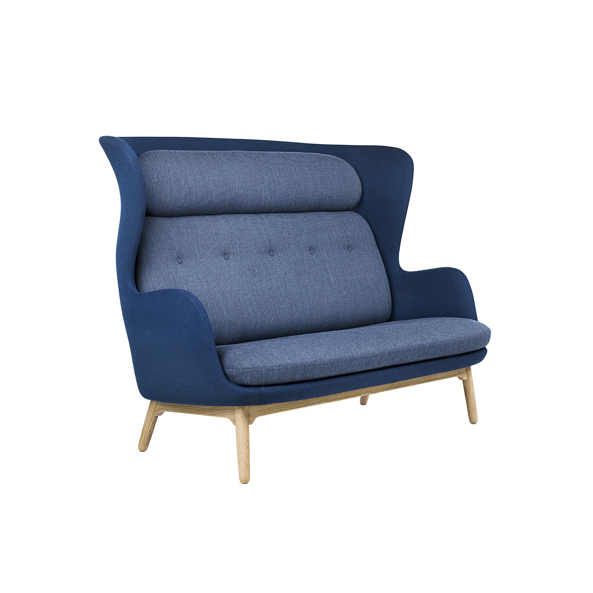 Ro Sofa - <p>Jaime Hayon's successful sofa Ro™ now fits two at a time. We introduce Ro as a 2-seater sofa - still accompanied by the curvy characteristics and playful, colourful expression found in Jaime Hayon's design philosophy. With the Ro™ Sofa, softness is expressed as a social setting for two - or for four when placed one in front of another - offering a unique feeling of privacy but with plenty of space at the same time. The Ro™ Sofa is perfect for any open office environment or other spaces that have the need for a breakout area or a room division. The Ro chair's distinct, sculptural shape has been interpreted in the Ro™ Sofa version and the two now make up a small unified collection. Despite its high back, the Ro™ Sofa is warm and welcoming and has a cosy appearance, whilst at the same time it offers the possibility of an enclosing, intimate space built for privacy. The Ro™ Sofa comes fully upholstered in in a wide range of fabrics. Single fabric or a mix of 2 fabrics; one fabric for the shell and one for the cushions. The base consists of 4 legs in brushed aluminium and it is also available with a wooden base in solid oak with a clear lacquer finish. A range of materials, colours and finishes are available in a number of combinations. Prices may vary. Please enquire for full details.</p>