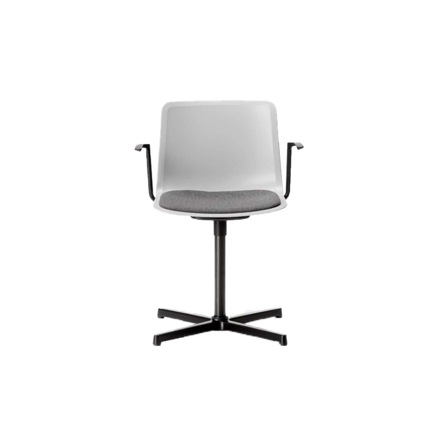 Pato Swivel X Base Armchair Seat Upholstered - Pato Swivel features a 4-point swivel base with optional casters, making it ideal for both task seating and conference rooms. The chair can be tuned from basic to exclusive with optional upholstery.  Pato is a prime example of our focus on sustainability and protecting the environment, reflected in a chair that's 100% renewable and recyclable. All components can be incorporated into future furniture production, thus contributing to a circular economy by minimising the use of materials, resources, waste and pollution.   Merging traditional production methods with cutting-edge technology, Pato is a human-centric, highly versatile series of multi-purpose functional furniture that draws on our in-depth experience with materials, immaculate detailing and heritage of fine craftsmanship. Allowing us to apply our high standards of texture, finish and carpentry techniques to an array of materials in addition to wood for products aimed at a mass market.   With its clean lines and curves, Pato echoes the ethos of Danish-Icelandic design duo Welling/Ludvik. Demonstrating their belief that good design has the ability to be interesting, even when reduced to its most simple form. Where anything extraneous is eliminated and every detail has a purpose.   Together we spent nearly three years developing the shell structure to have a soft surface that's also wear and tear resistant. Enhancing the chair's ability to optimally conform to the user's body is a subtle beveled edge. A technique from classic cabinetmaking, which gives the chair a sense of handcrafted finesse. Each Pato is detailed and finished by hand by our highly skilled crafts people, who refine the beveled edge and the silky, resilient surface. Setting a new standard for the execution and finish of polypropylene.   Since the success of its initial launch, we've expanded Pato into an extensive collection of variants, featuring armchairs, barstools, office swivel chairs and a l