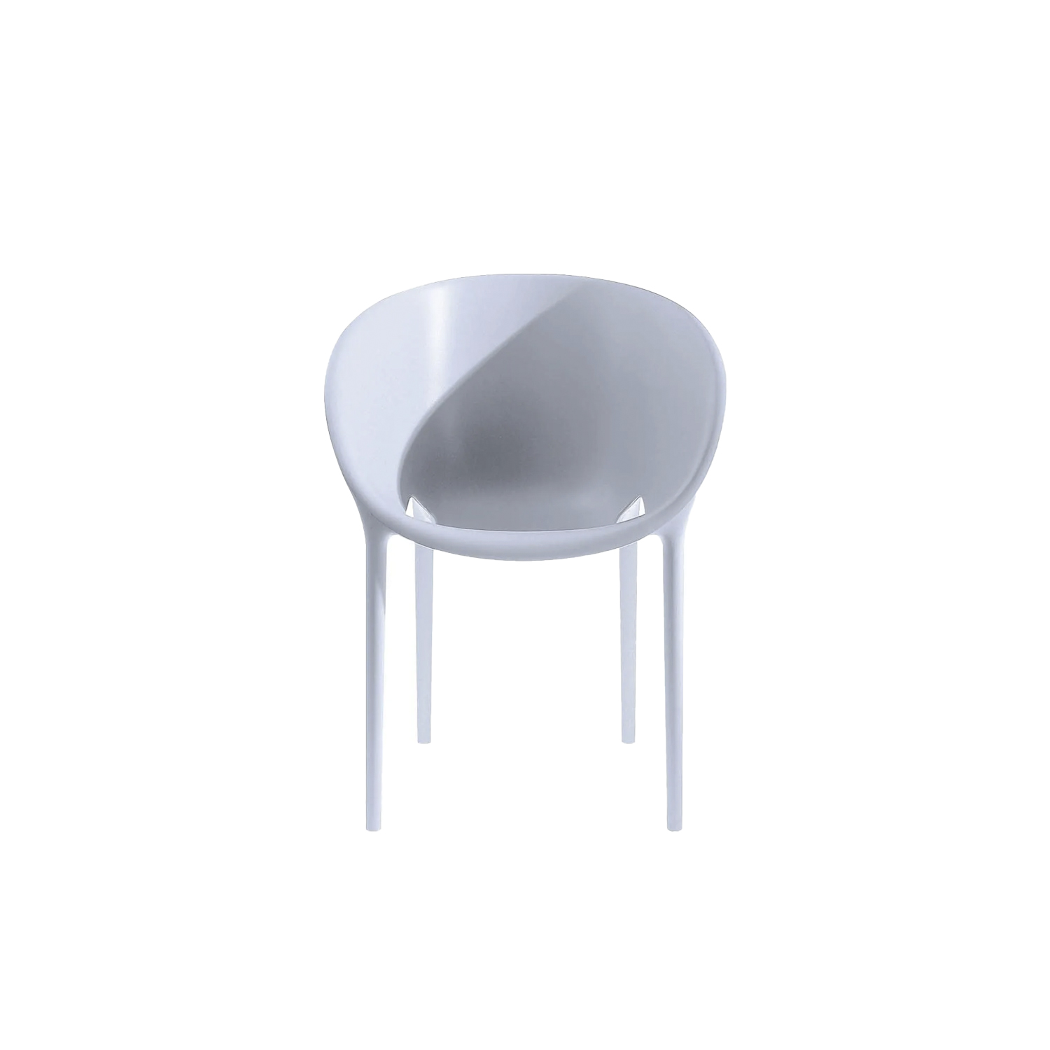 """Soft Egg Chair - A chair that incorporates the rounded 50's style, however, ergonomically correct and more suitable for an outdoor use. This is accomplished through the side slots, so fundamental to the flow of rainwater and to its stackability. """"Soft Egg"""" offers an organic image that can melt, so amazingly, with the organic unity of nature. 