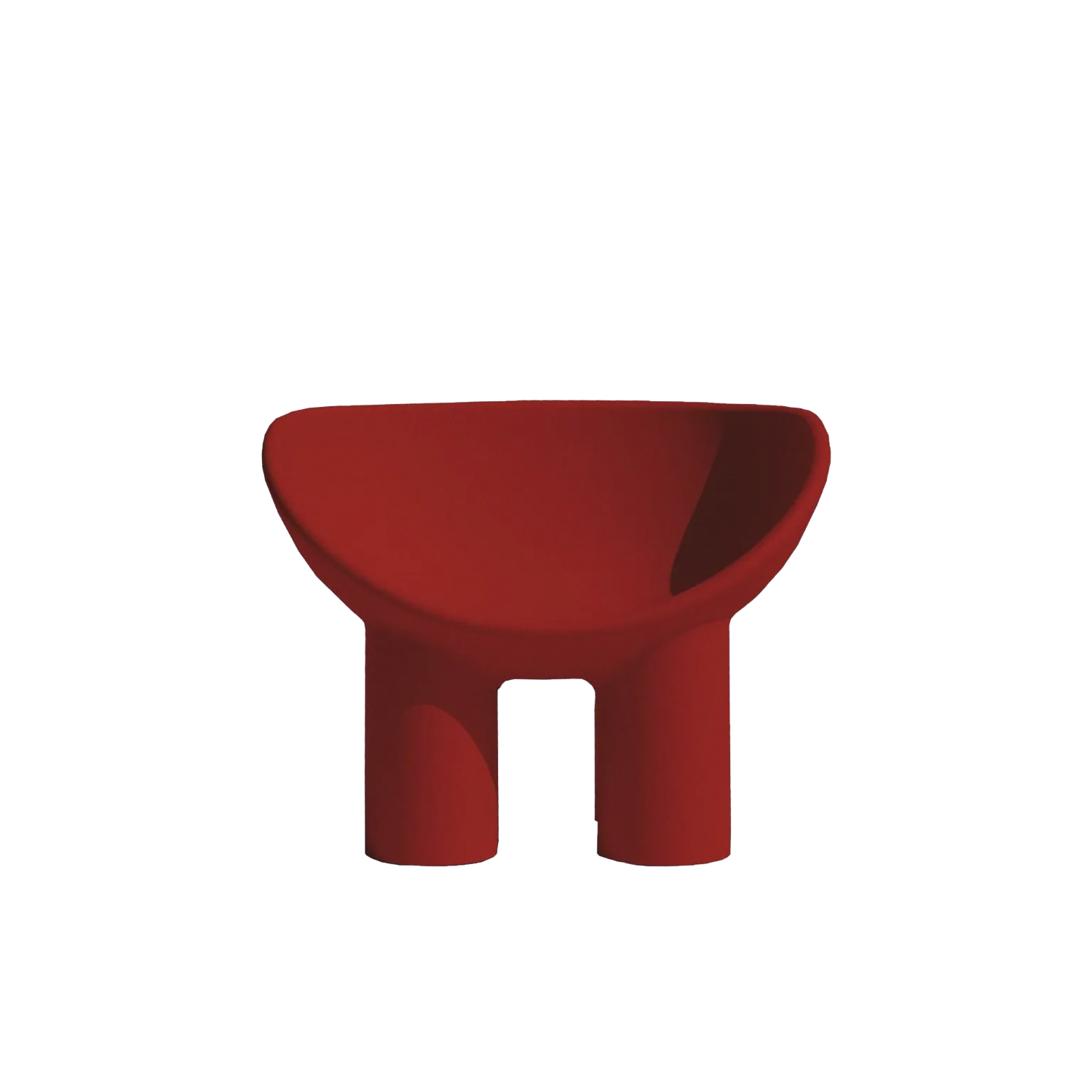 Roly Poly Armchair - The Roly Poly Collection, consisting of an armchair and a sofa, embodies the concepts of furniture and sculpture, thus representing the philosophy of Driade in a perfect way. The characteristic of these monobloc furnishing accessories is the bowl shape of the seat, rounded and welcoming, with cylindrical legs and delicately linear shapes that give it a reassuring and massive look. Made of rotationally molded polyethylene, the low seat has been enriched with soft padded cushions that nestle in its curved shape for an engaging sitting experience. Armchair and sofa are available in a variety of colours to complement any type of interior or exterior decoration.  | Matter of Stuff