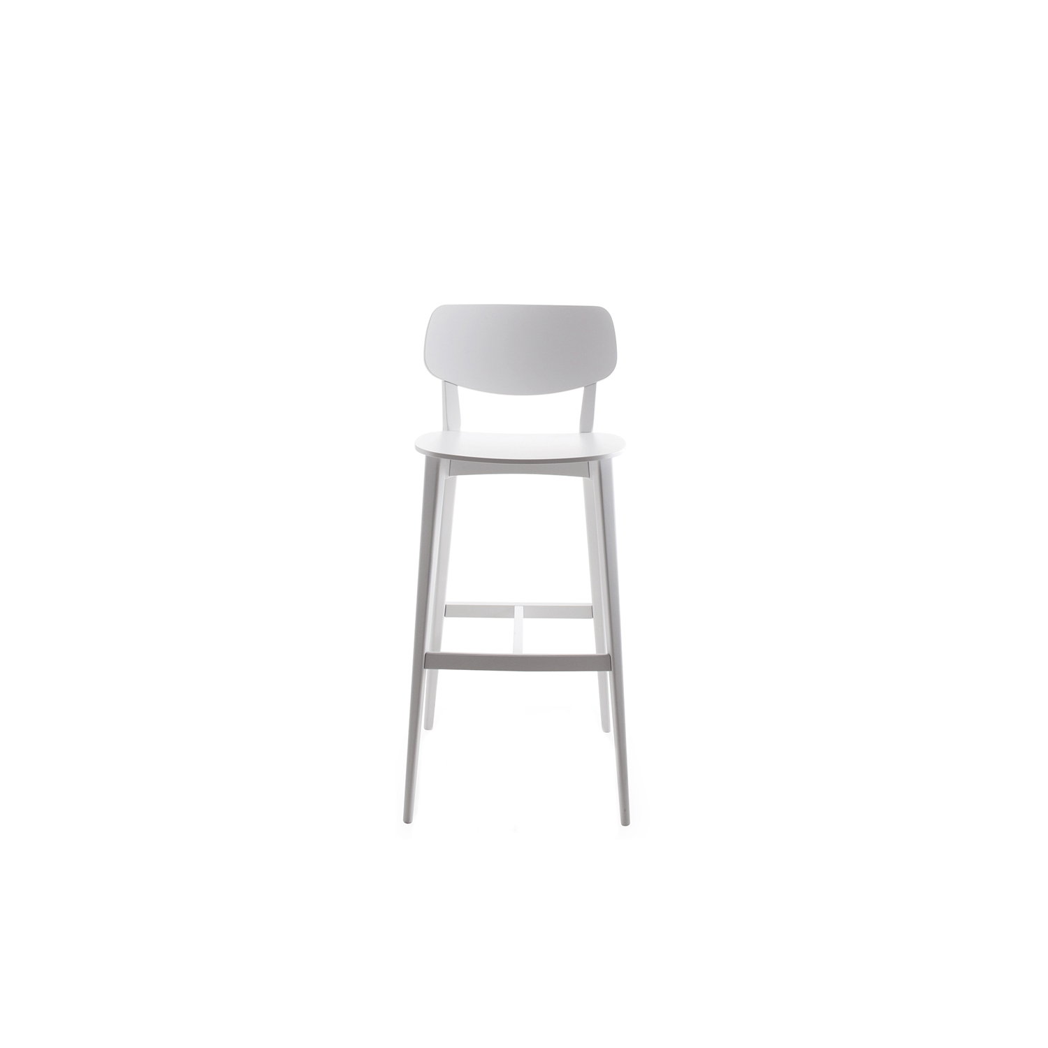 Doll Barstool - Barstools with frame in stained or lacquered beechwood or in lacquered steel, available also with upholstered back and seat. A collection of dollies, as the name suggests. A complete range of chairs, armchairs, lounge chair, barstool and table, with alluringly sweet lines. The Doll's sleek lines become even more embracing in the enveloping lounge versions.  | Matter of Stuff