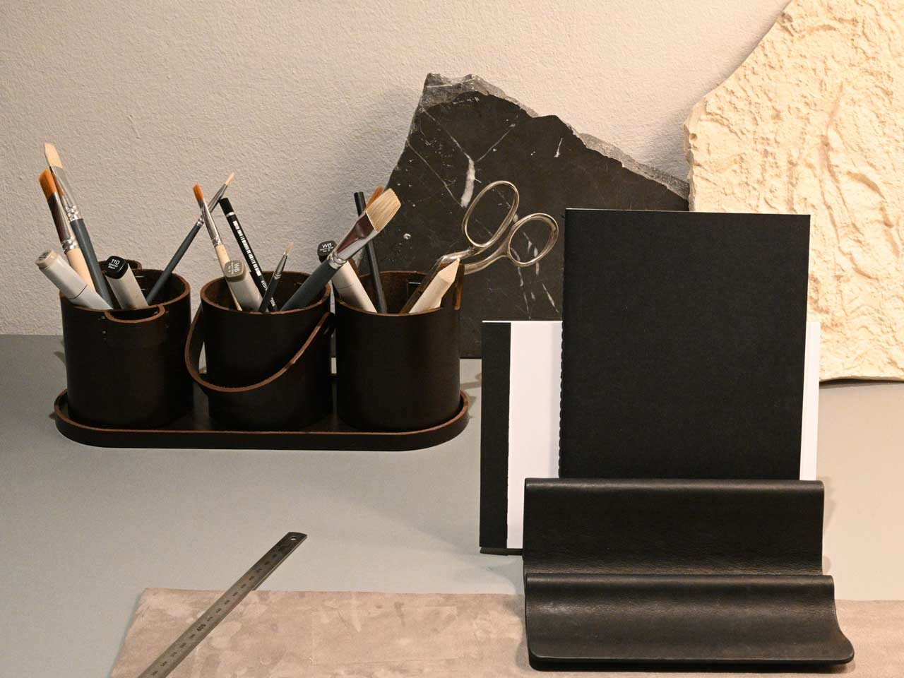 Buckets Desk Organiser - <p>Originally designed for an exhibition as large, outdoor objects in steel, Buckets is reinterpreted as a series of scaled-down vessels suitable for organising writing implements.</p>
