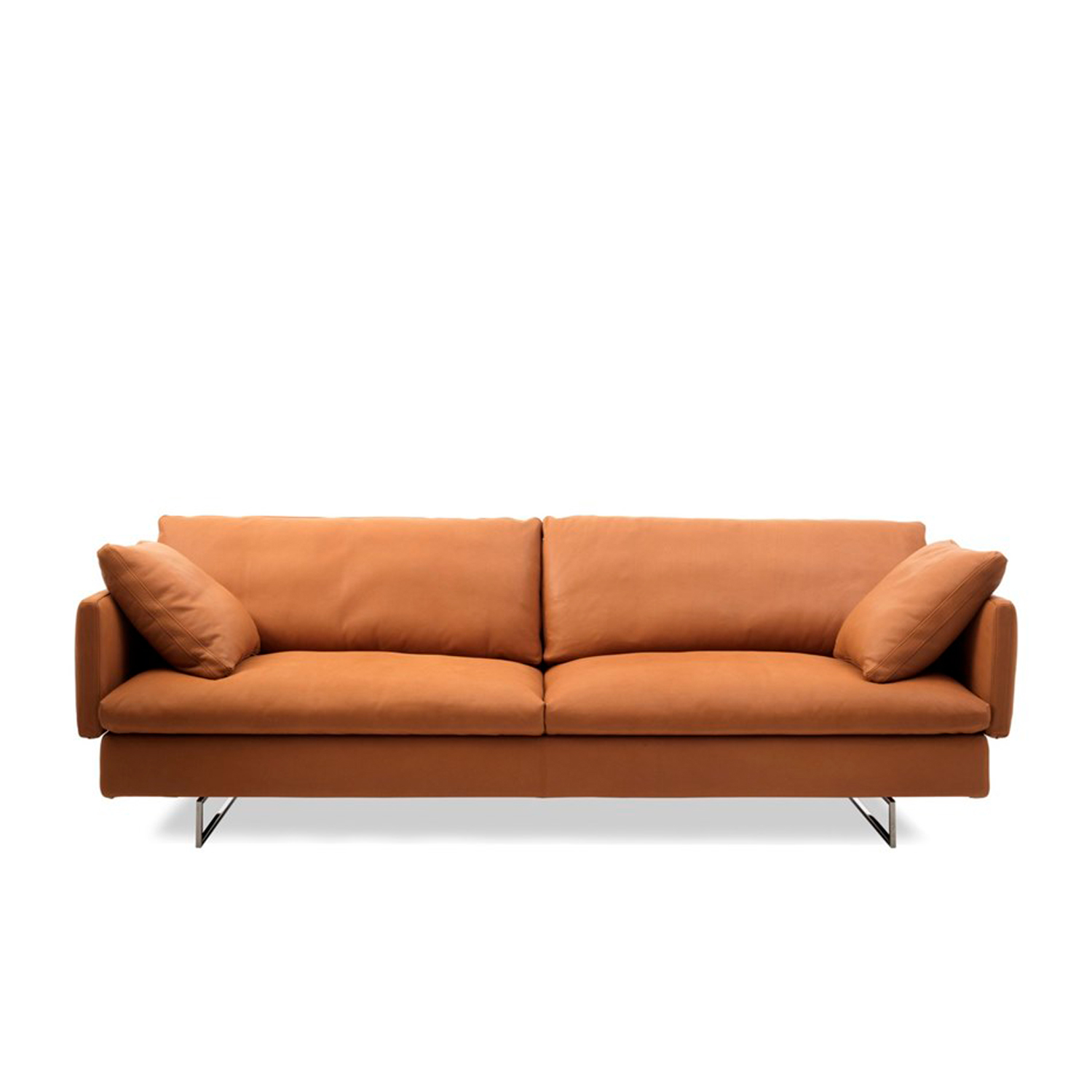 Voyage Two Seater Sofa - This sofa offers clean lines and a unique flexible design that gives a feeling of momentum towards a larger journey. The upholstery options are essential, contemporary and eclectic. Voyage can be assembled and re-assembled with simple configurations adapting to any living scenario. This seating system reinforces Saba's ethos for interpreting the value of flexibility: from the slender backrests that allow upmost comfort with minimal volume to the multiple configurations they enable. Voyage can be configured into two sofas or one sofa in vis a vis positioning, or into a chaise lounge formation. It's available in two variations - with methacrylate or chrome finished metal feet.  Additional removable cover is available, please enquire for prices.  Materials Structure in wood padded with polyurethane foam covered with velfodera on a polyester fiber coated backing 150gr/sqm. The back panels are in plywood padded with variable-density polyurethane foam and covered with velfodera 100gr/sqm. Feet 10 cm high in transparent methacrylate with rectangular section or in metal with black nickel finishing. The seat cushions are made with variable density polyurethane, covered fine velvet coupled with polyester fiber 280gr/sqm. The back and armrest cushions are in siliconised microfiber unraveled 100% polyester quilted into sections and covered with 100% white cotton fabric. The roll armrest is filled with polyurethane foam and covered with cotton fodera coupled with polyester fiber 380gr/sqm. | Matter of Stuff