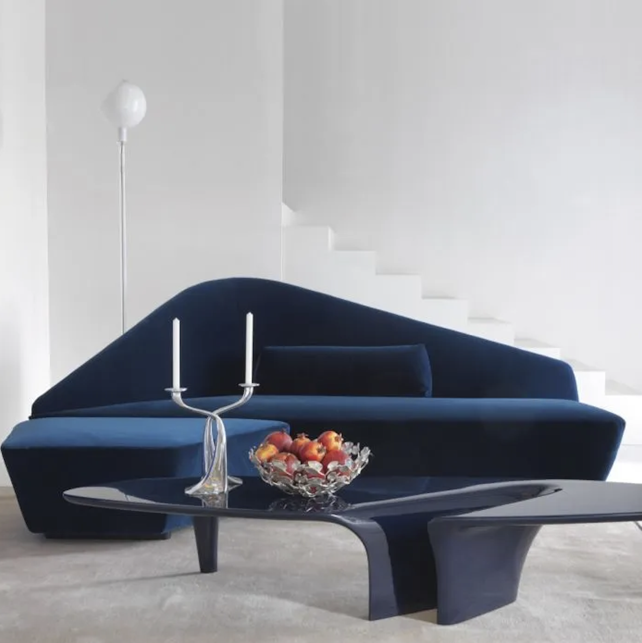 Verlaine Sofa - Lievore Altherr Molina typically designs harmonious and balanced items as well as intense shapes balanced in a peaceful tension. For Driade they have designed Verlaine, a sofa complete with a square ottoman sporting an exceptionally expressive versatility that reminds of organic and flowing shapes. Its fascinating silhouette is an irresistible attraction inviting the viewer to appreciate the comfortable seat. Verlaine becomes the main aesthetic detail of the living room; it entices the eyes and grabs the attention.  | Matter of Stuff