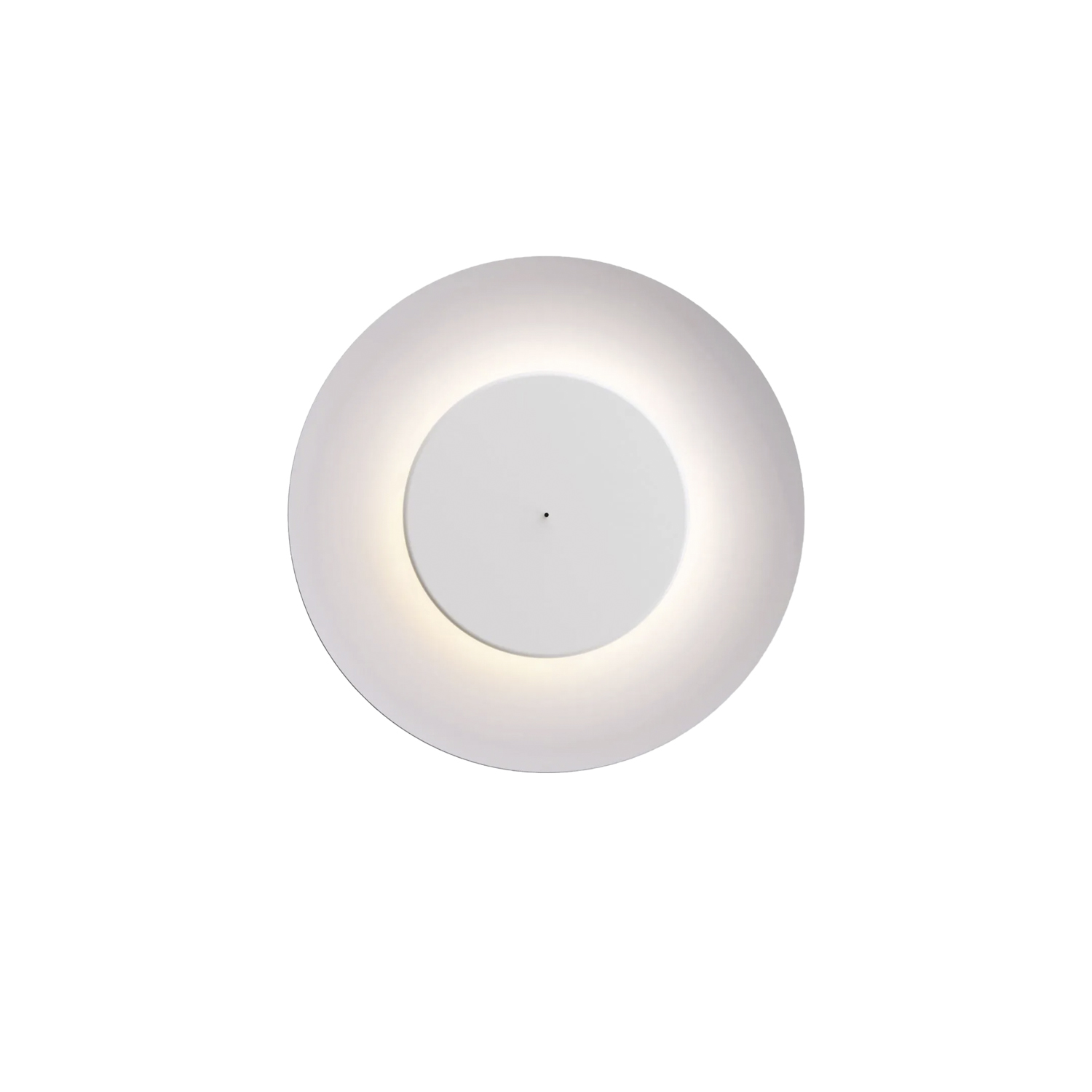 Lunaire Wall/ Ceiling Lamp - Lunaire is a wall and ceiling lamp with a surprising light effect, reminiscent of the phenomenon produced by eclipses. A smaller front disc containingthe light source is set inside a large concave aluminium diffuser.Two different effects are possible depending on how the small discis positioned with respect to the diffuser: back lighting when the front disc is closed, in other words pushed towards the wall, or from insidethe diffuser when the disc is pulled forward. Simply pulling or pushing the rod on the front of the disc immediately changes the lightingeffect to suit the mood. Thanks to the large diameter of the diffuser, Lunaire is the perfect lighting solution for big area, they residential or contract.  Wall/ceiling lamp with adjustable light by means of the closing cap placed on the reflector. Polyethylene rear body. Reflector and cap made of painted metal. Integrated led.   | Matter of Stuff