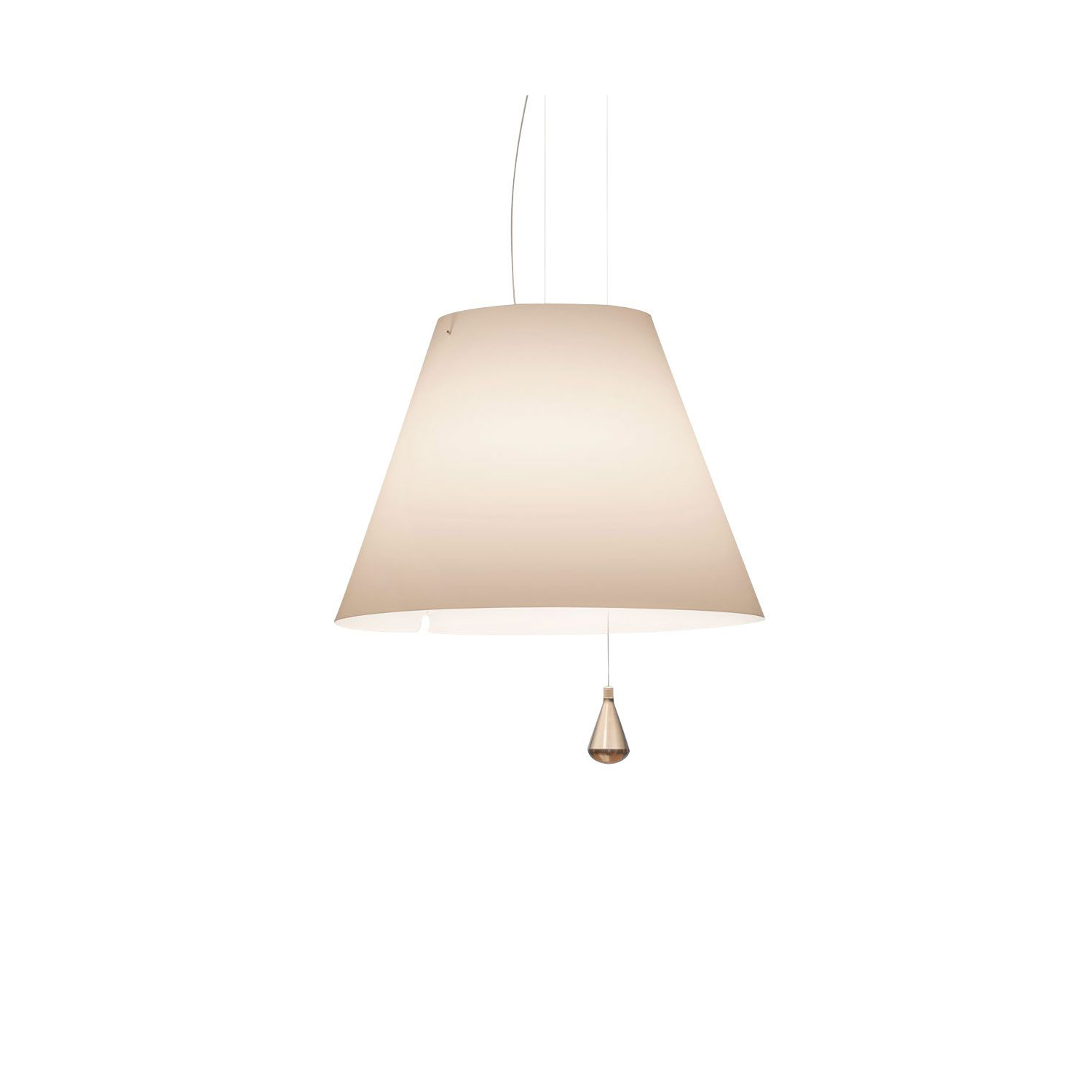 Lady Costanza Suspension Lamp -  Lady Costanza reinterprets all the characteristics of the original Costanza model in a larger format, conserving the aplomb of the design, its formal harmony and functional precision. The shade comes in white, red and black (the latter for a more directional, concentrated lighting effect).  | Matter of Stuff