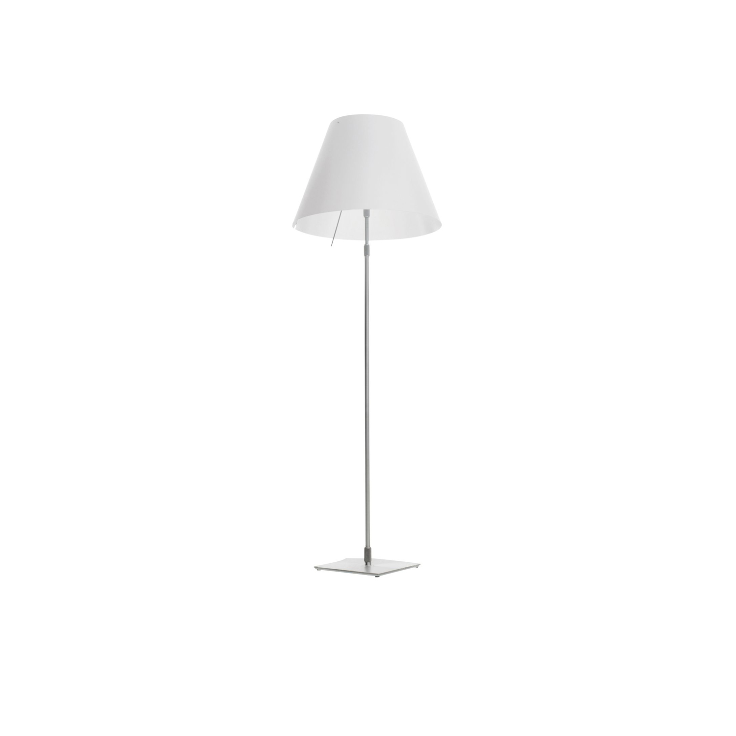Grande Costanza Floor Lamp - Tradition and innovation meet in this classic maxi floor model. The aluminium stem and polycarbonate lampshade enhance large spaces with lightness and luminosity for which this lamp is renowned. Also available in models with on/off or dimmer switch. | Matter of Stuff