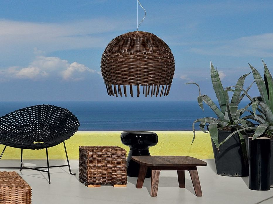"""Croco 96 Pendant Lamp - This rattan collection derives its name from the raw material used – originally called in Kalimantan dialect """"Buaya"""", translated as """"Crocodile"""" for its special colour and nuances. Frames are of rattan, wood and plywood. Seats are completely woven. Cushions of polyurethane foams, Dacron and down, all covers are removable. The bulb is not included.   Matter of Stuff"""