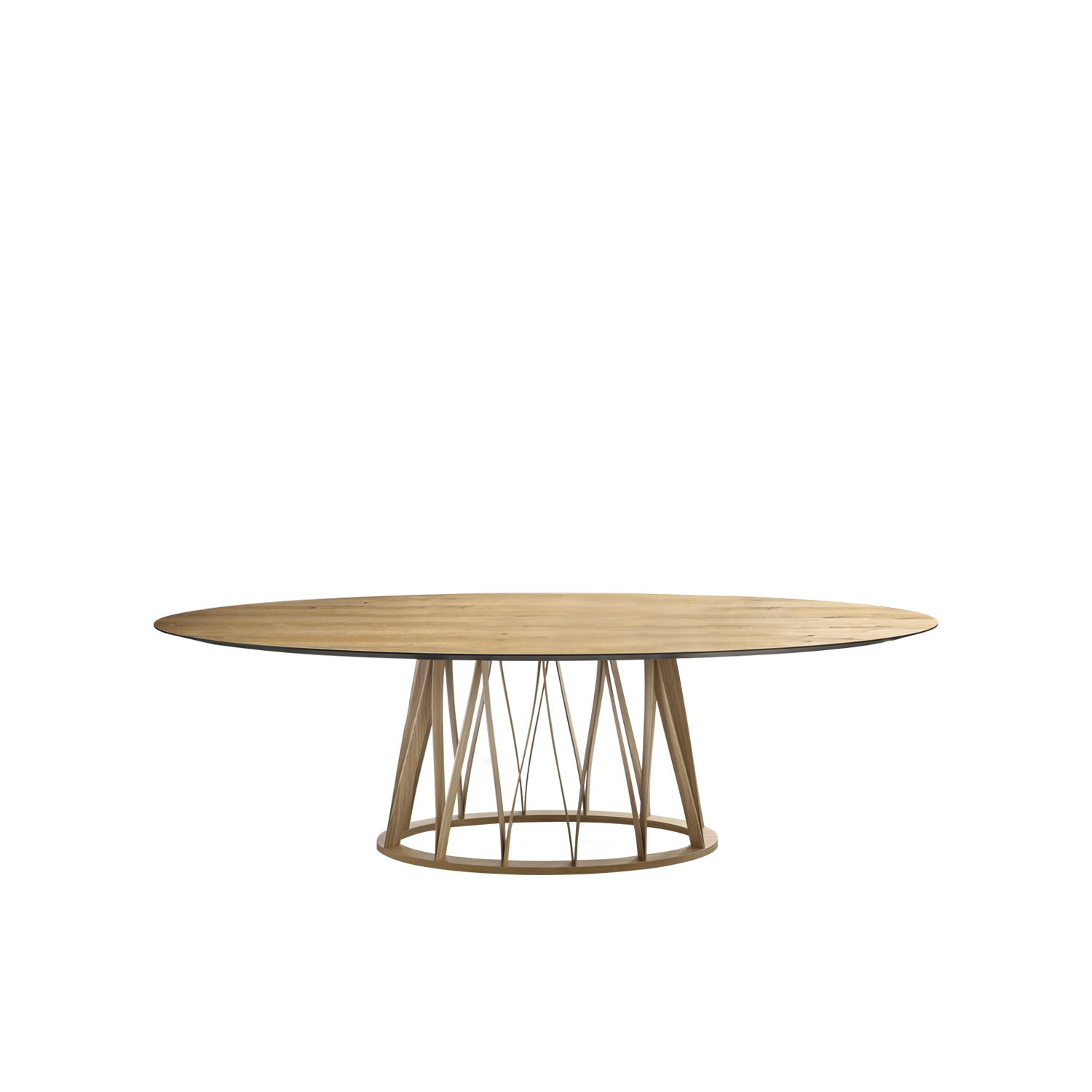 Acco Dining Table - Acco is an elegant dining table with a strong character that resists labelling. It displays a mature, sophisticated language, which is developed through the design of the base frame with its distinct regular pattern of wooden lines.