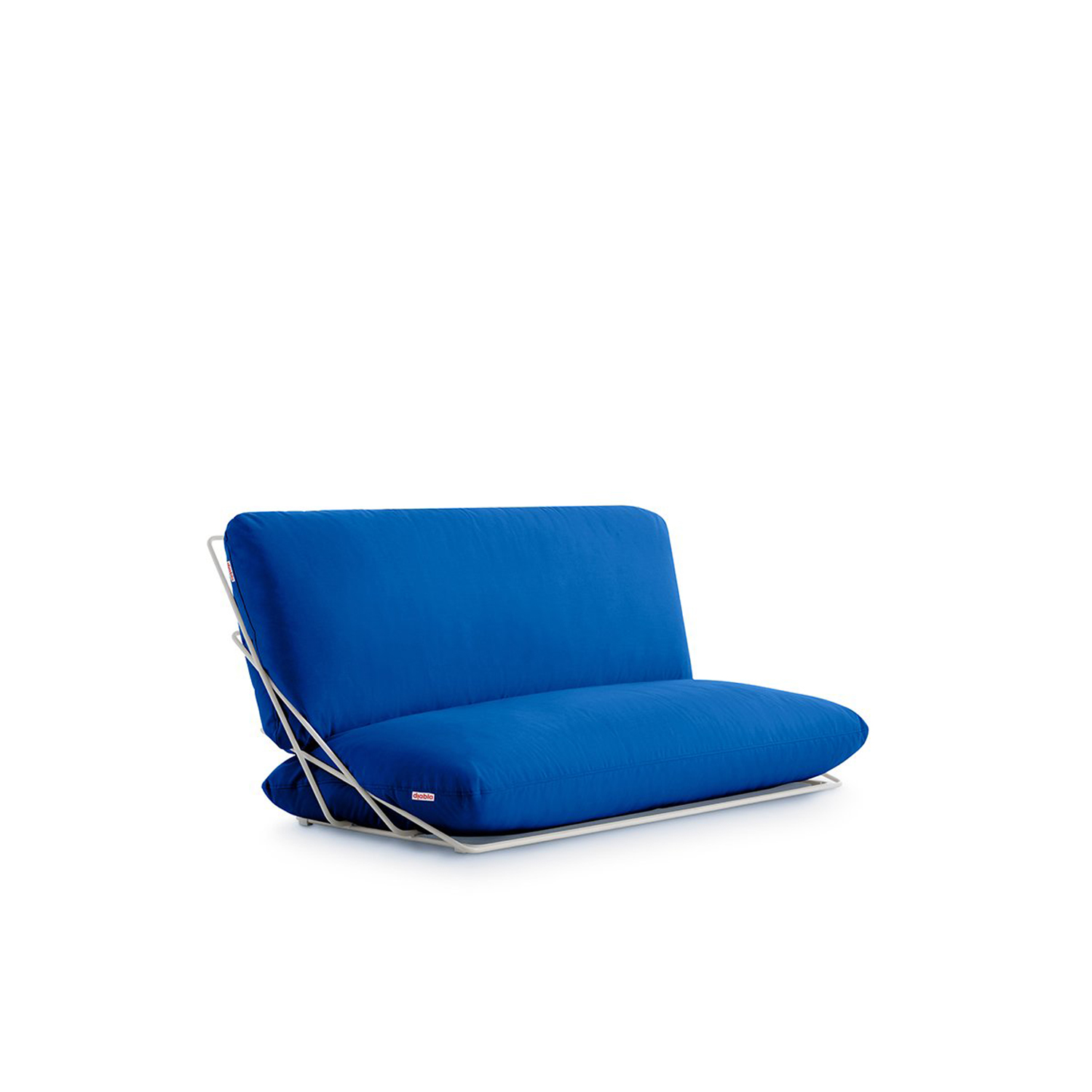 Valentina Sofa - <p>A seat with a casual and laid-back yet elegant and colourful character. The most genuine expression of Diabla's style. This is the the two-seater sofa in the Valentina Outdoor collection, an informal piece with a particularly seductive style. Its creator, Alejandra Gandía-Blasco Lloret, decided to design a sofa using just two cushions and keeping other elements to the minimum. Its floor-level design allows two people to sprawl on it.</p> <p>To stop the cushions from slipping and coming apart, they are fastened together with a zip that is hidden from view. They're both attached to the lightweight, almost invisible structure of steel rods by another zip, an important feature of floor-level designs to keep the whole arrangement secure.<br /> The cushions are made from a special outdoor fabric and the covers can be removed. This means that they can be washed easily or that they can be changed for a set of covers in another of the colours in the Valentina Outdoor range.</p>  | Matter of Stuff