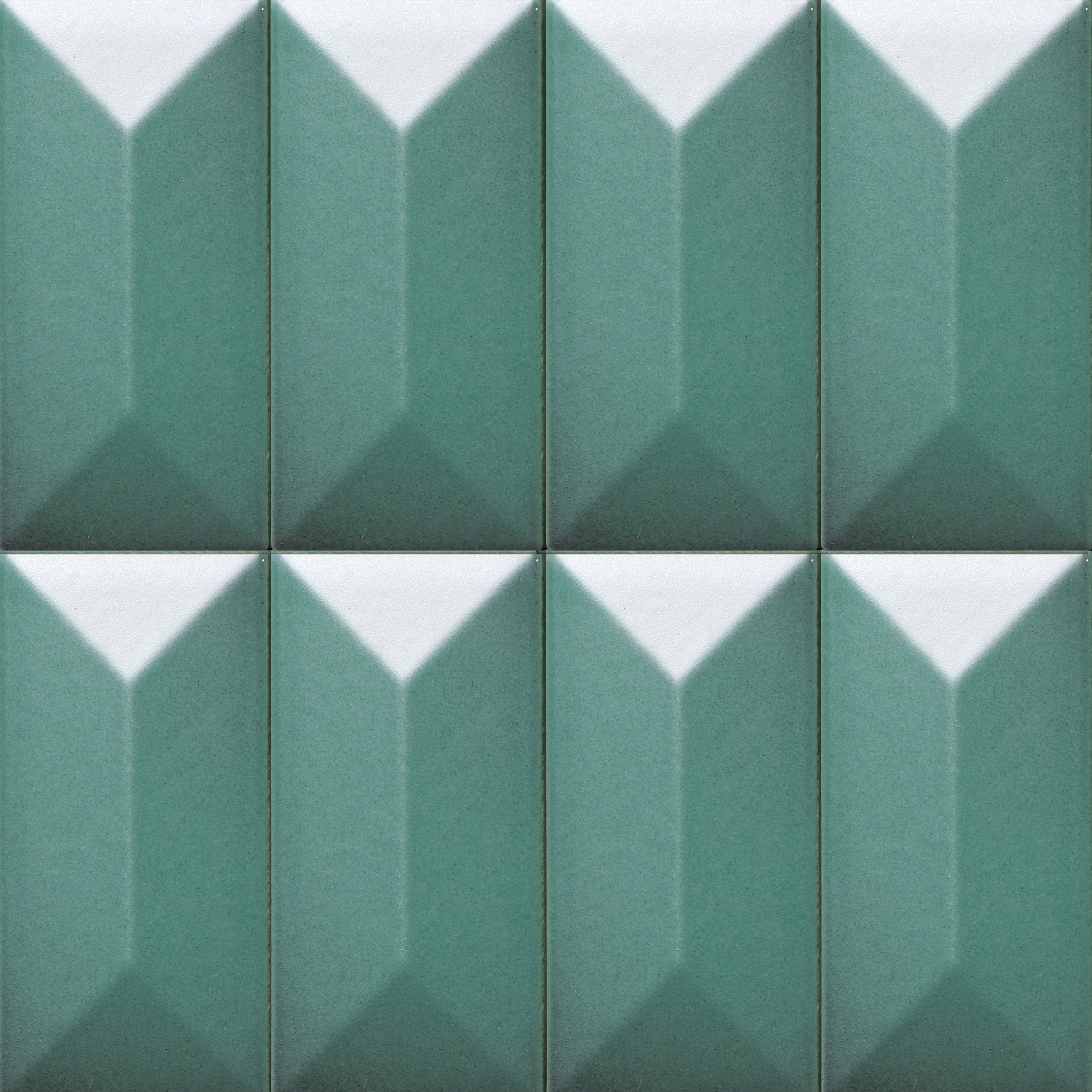 Polygonal 3D Tile - Matter of Stuff Polygonal 3D Tiles are characterized by a Prismatic geometry and are sized cm 10x5 cm. These ceramic tiles are perfect to decorate exterior facades and interior feature walls. Their design adds a geometric sense of movement and creates a 3D surface that plays with shadow and light. add a geometric sense of movement and they create 3D surfaces profiles that play with shadow and light. These tiles are produced in accordance with a hand-crafted technique which makes the material heterogeneous, both in the effects on the surface and in the dimension of the pieces. Bespoke glazing colours and effect are available. | Matter of Stuff