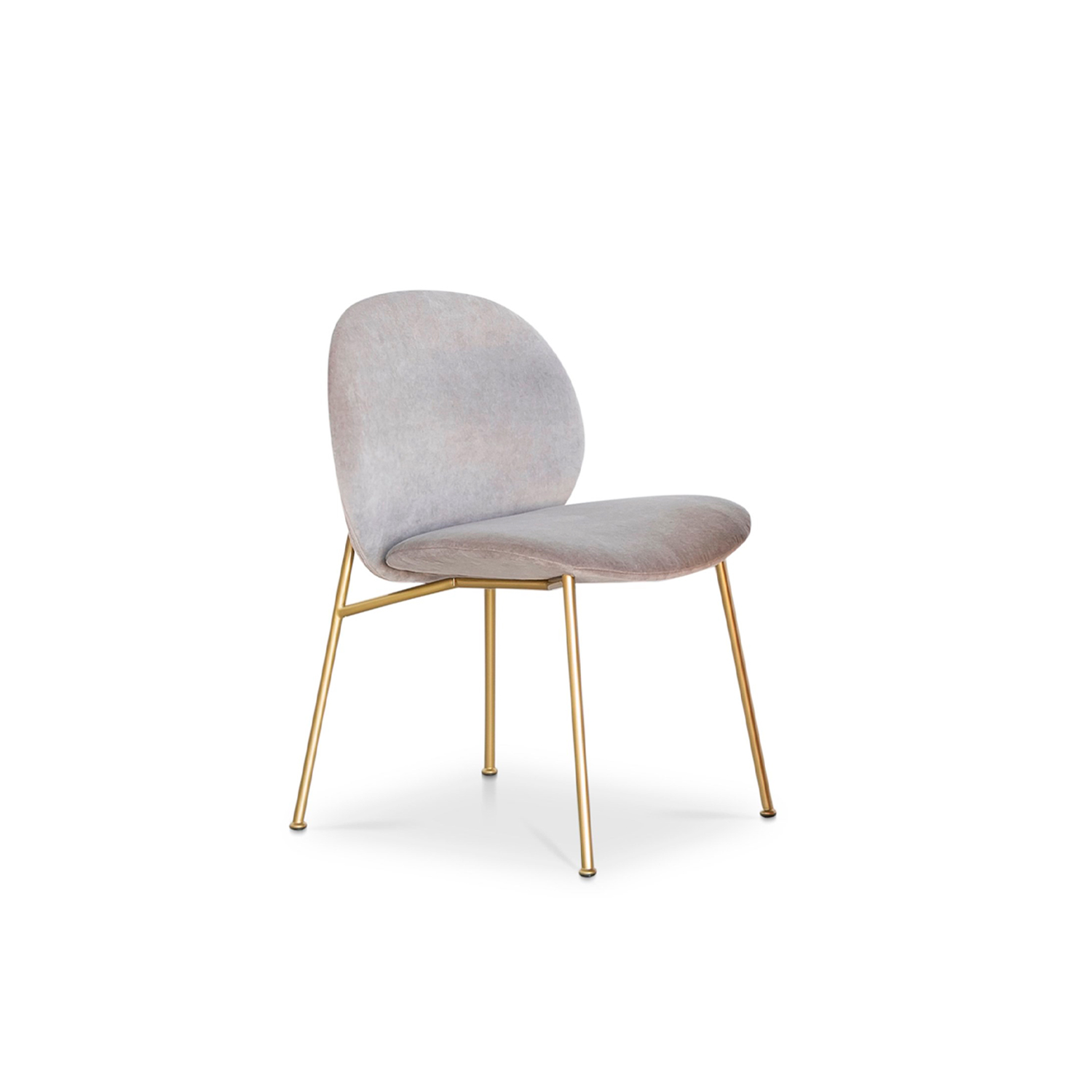 Ola Chair - The Ola family extends to the dining room: Ola chair originates from the sameconcept of curved sheets, each converging towards a single centre point. Foursheets become two sheets for the variation without armrests. The metal framehas an essential and graphic silhouette, in contrast with the padded and roundedform. Fully removable covers.  Additional removable cover is available, please enquire for prices.  Materials Structure in plywood curved birch with polyurethane foam covered with polyester fiber 100gr/sqm. Feat in 18 mm of diameter painted or chromed iron. Seating is made in polyurethane foam and covered with polyester fiber 100gr/sqm. Backrest and armrests are made in polyurethane foam and covered with polyester fiber 100gr/sqm. | Matter of Stuff