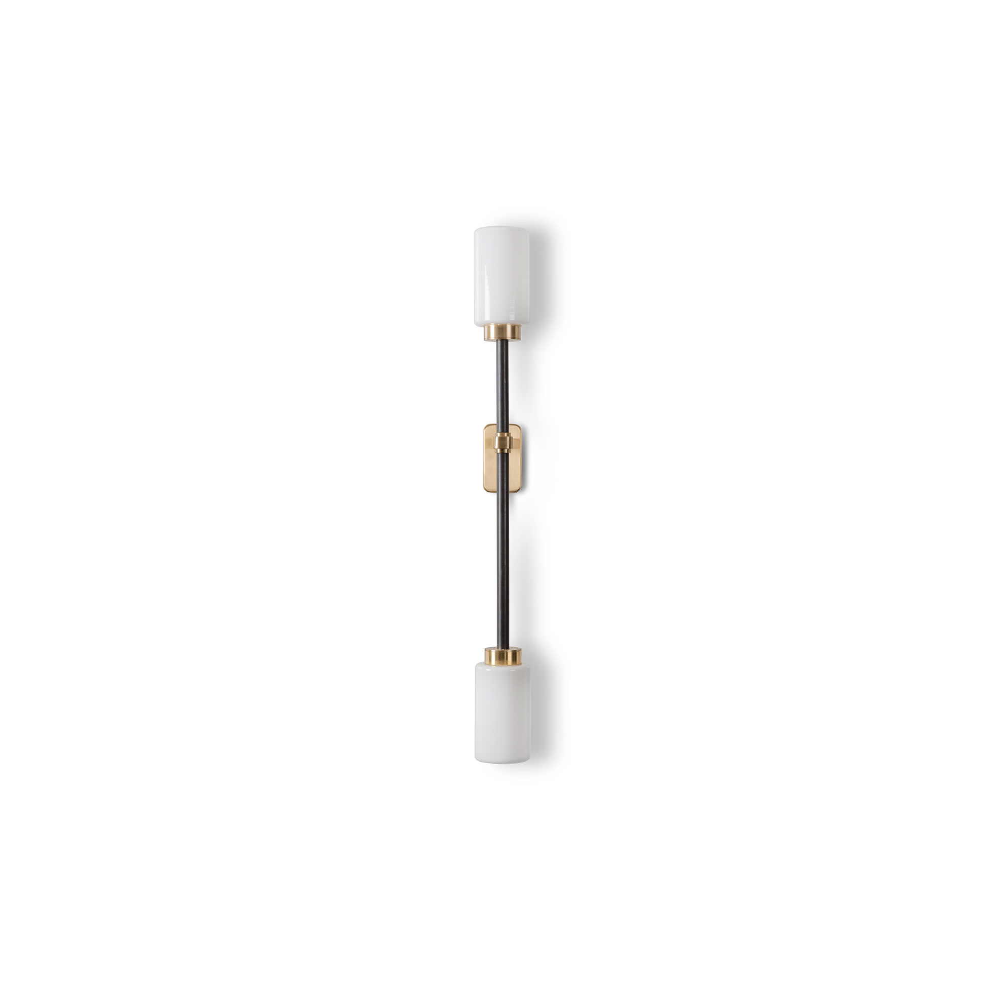 Farol Wall Light - Single - Finished in brass and bronze with two elegant cylindrical shades, the Farol Single Wall Light will lend a luxurious touch to any living space. Available with opal or smoked glass shades.    | Matter of Stuff