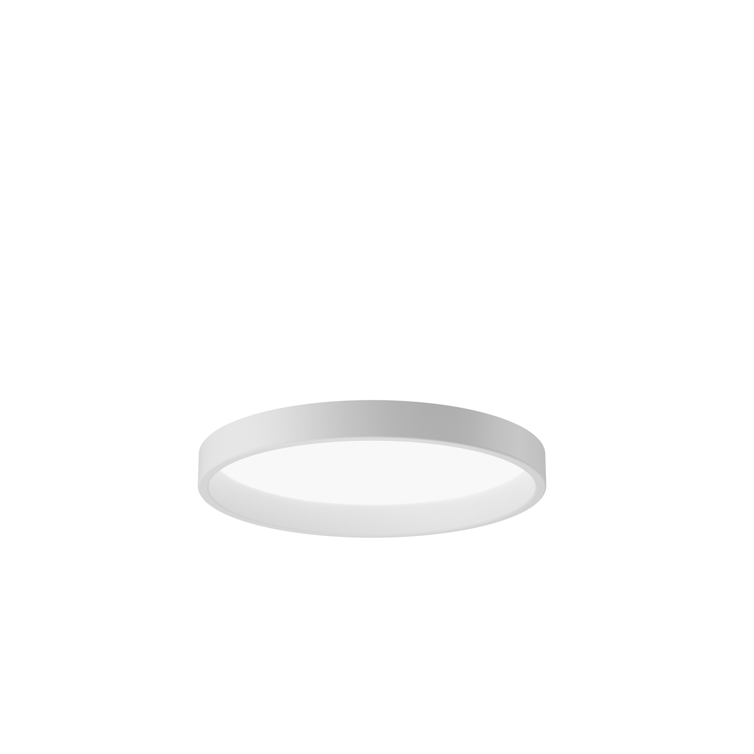 LP Circle Semi-inset Ceiling Light - The fixture emits diffuse light via a high-efficiency acrylic diffuser. The diffuser, which is encircled by a voluminous coloured or white ring, is hidden when viewed from low angles. Angling the inner side of the ring 5° creates comfortable and decorative graduation of the light from the diffuser. With two diameters and four different installation options, the lights series can be used for a wide range of applications. | Matter of Stuff