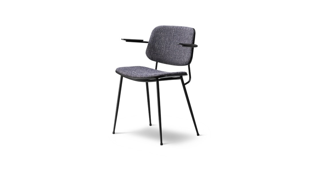 Soborg Metal Base Armchair Seat and Back Upholstered
