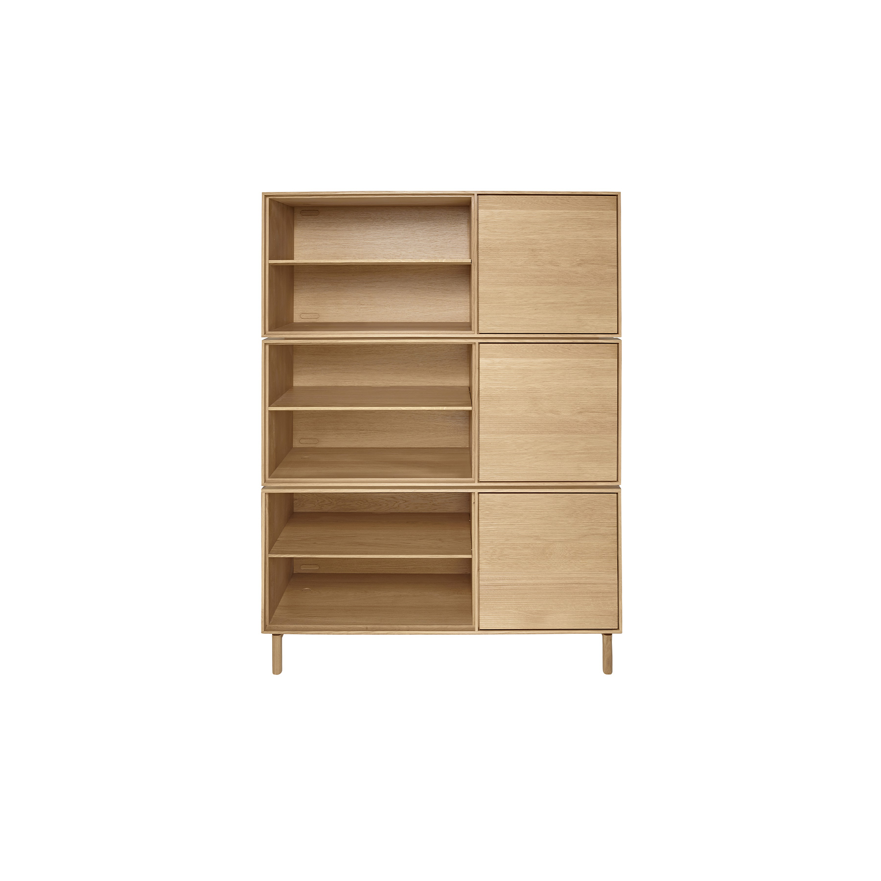 Modulo Cabinet With Open Shelf - <p>The brief for Modulo was to create a simple, flexible storage system. Modulo is built around a single basic solid oak cabinet carcass which can be specified with either doors and drawers, doors and shelves, drawers and shelves or just shelves. Modulo combines traditional cabinet construction with the modern desire for choice and personalisation.  Each option is available oriented left-handed or right-handed and can be used individually or stacked and combined to offer numerous storage solutions. Wood finishes and colour samples are shown for guidance only as screen colours may vary. We would recommend ordering a sample in your chosen finish. However, wood is a natural material and varies in colour, grain and structure.<br /> Doors and Drawers available in Natural (DM) finish only. Cabinets are available in Natural (DM), Darkened (DA) or Black (BK) finish.</p>  | Matter of Stuff